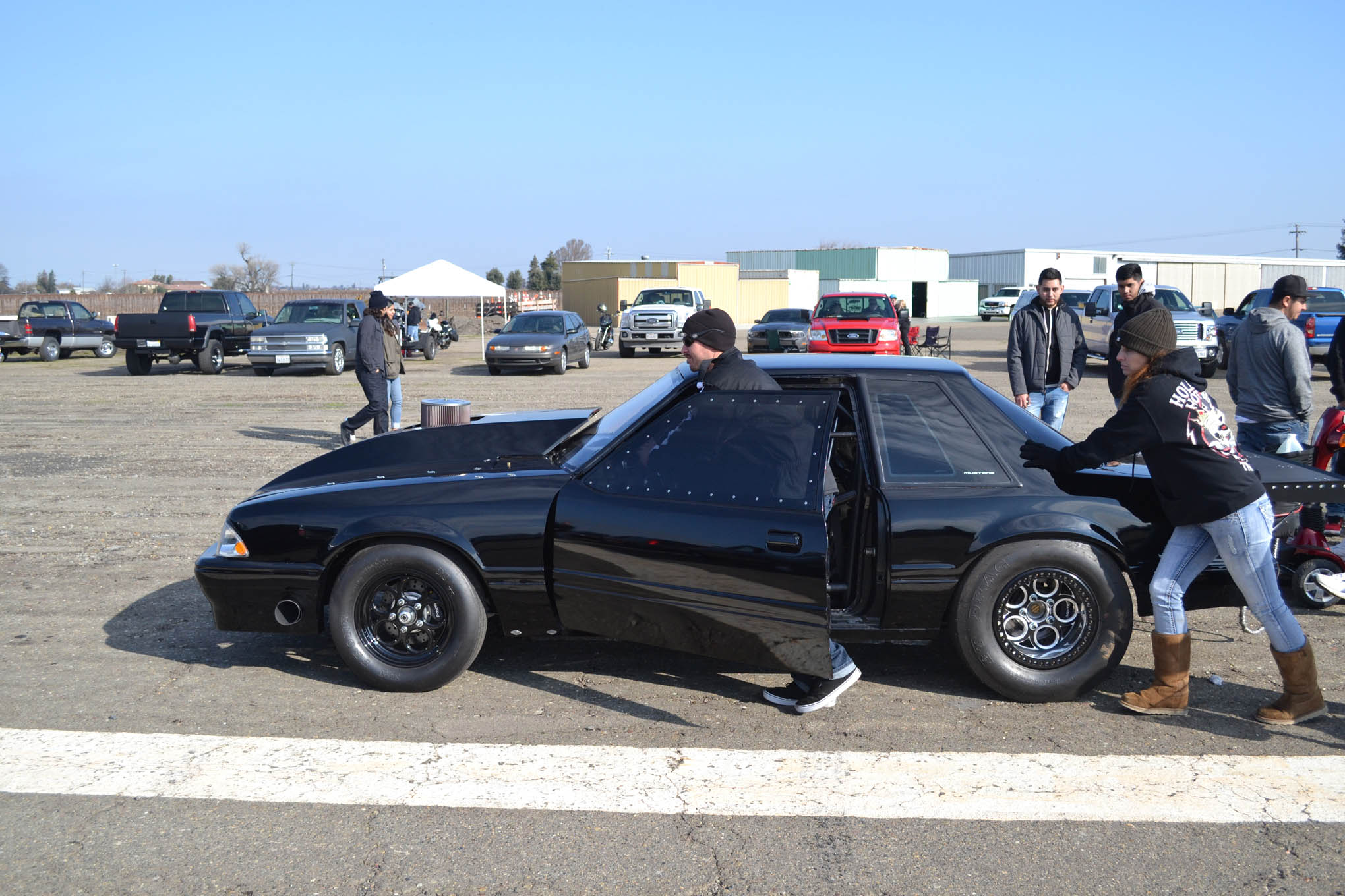 Another mean vehicle in attendance was this Darth Vader–looking Mustang. The owner indicated that it was very light and powered by a small-block Ford with nitrous. His strategy for racing was simple: if it feels good, turn on one kit; if that hooks, turn on the second kit. We like it.