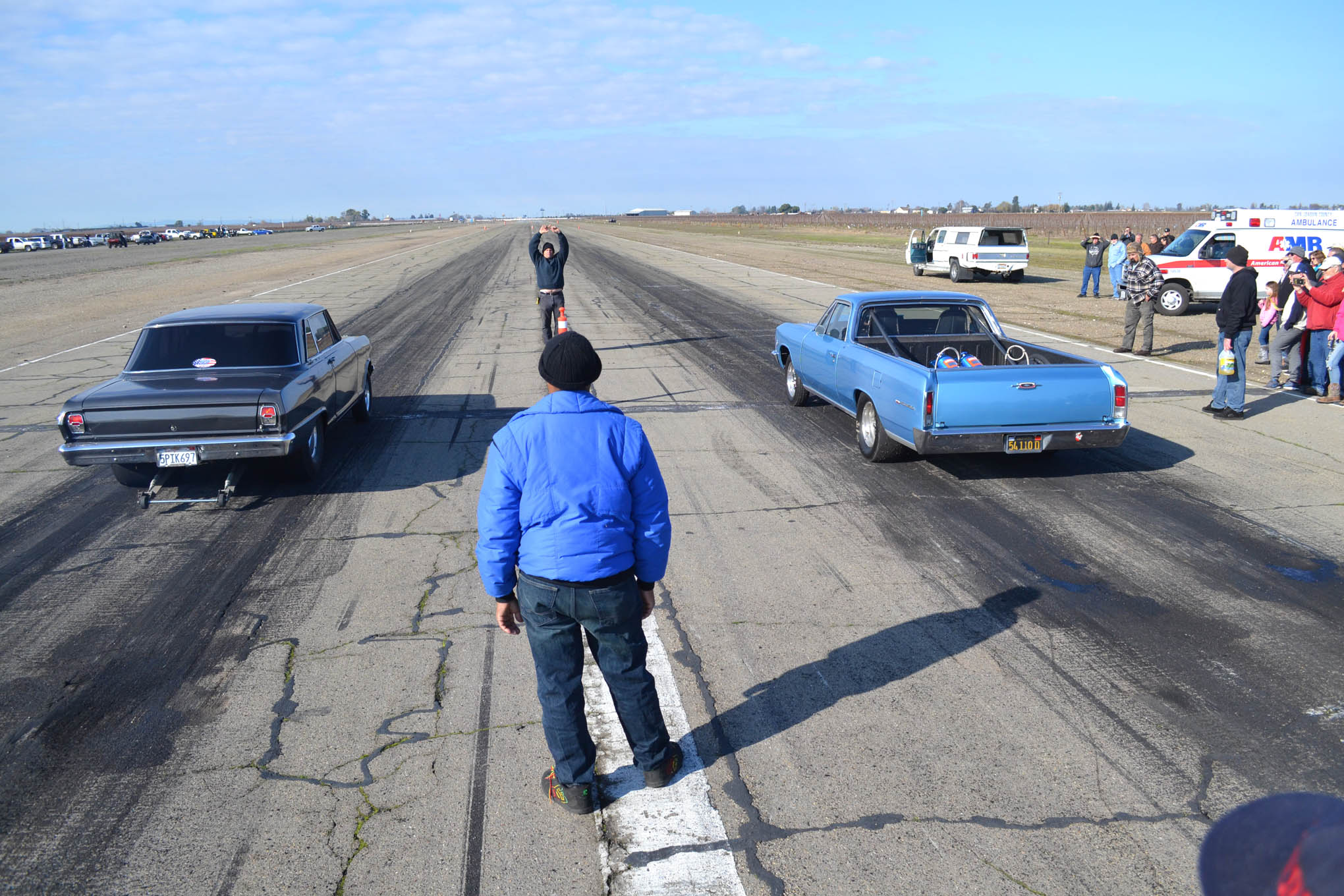 Two of the best-hooking cars of the event were this tubbed early Nova in the left lane and the blue nitrous-assisted El Camino in the right lane. The El Camino was one of the only vehicles to pull the wheels on the starting line, while the Nova was usually able to motor ahead of the competition, even while hazing the big slicks.