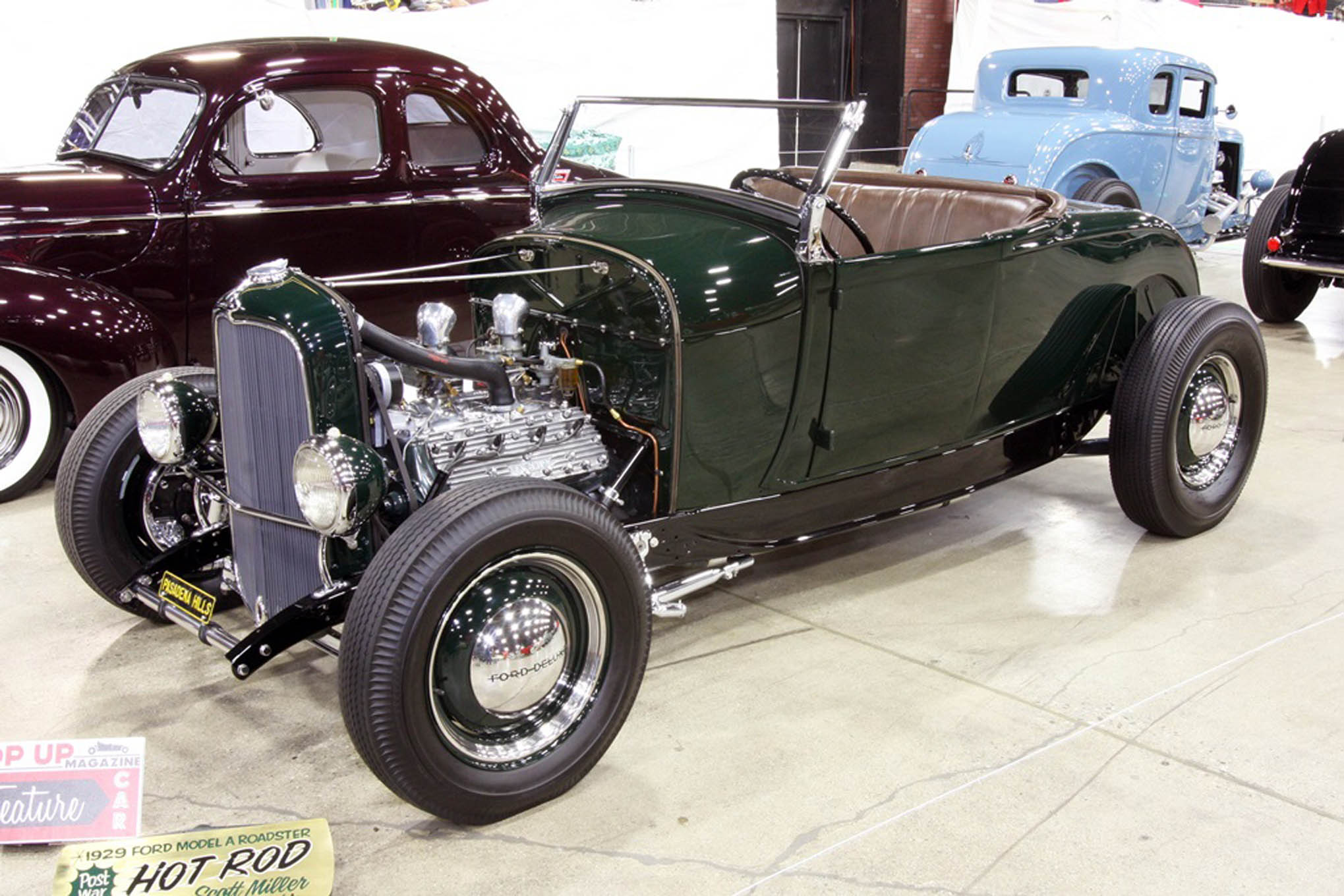 Running his Ford Model A roadster without a hood lets Scott Miler 0of Pasadena show off the Evans Flathead. The original 1929 body rides on original 1932 'rails. Other traditional components include a Halibrand Culver City quick-change, and a Packard dash.