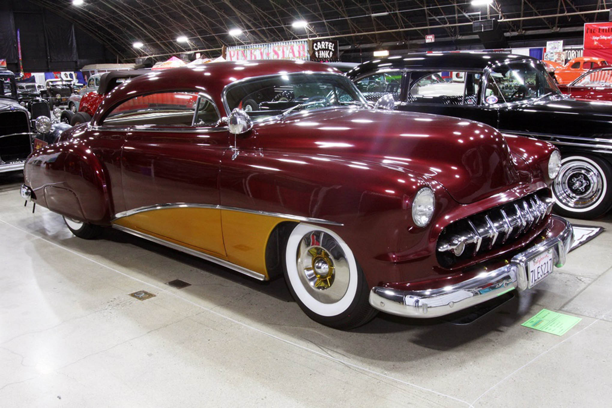 The Jack Peed 1950 Chevy is another fantastic historical custom. Peed bought the car when it was new. Sonny Daout made many of the original mods, including the top chop and conversion to a hardtop. It now wears two-tone maroon and gold paint, and is owned by Gary and Mary Minor of San Leandro.