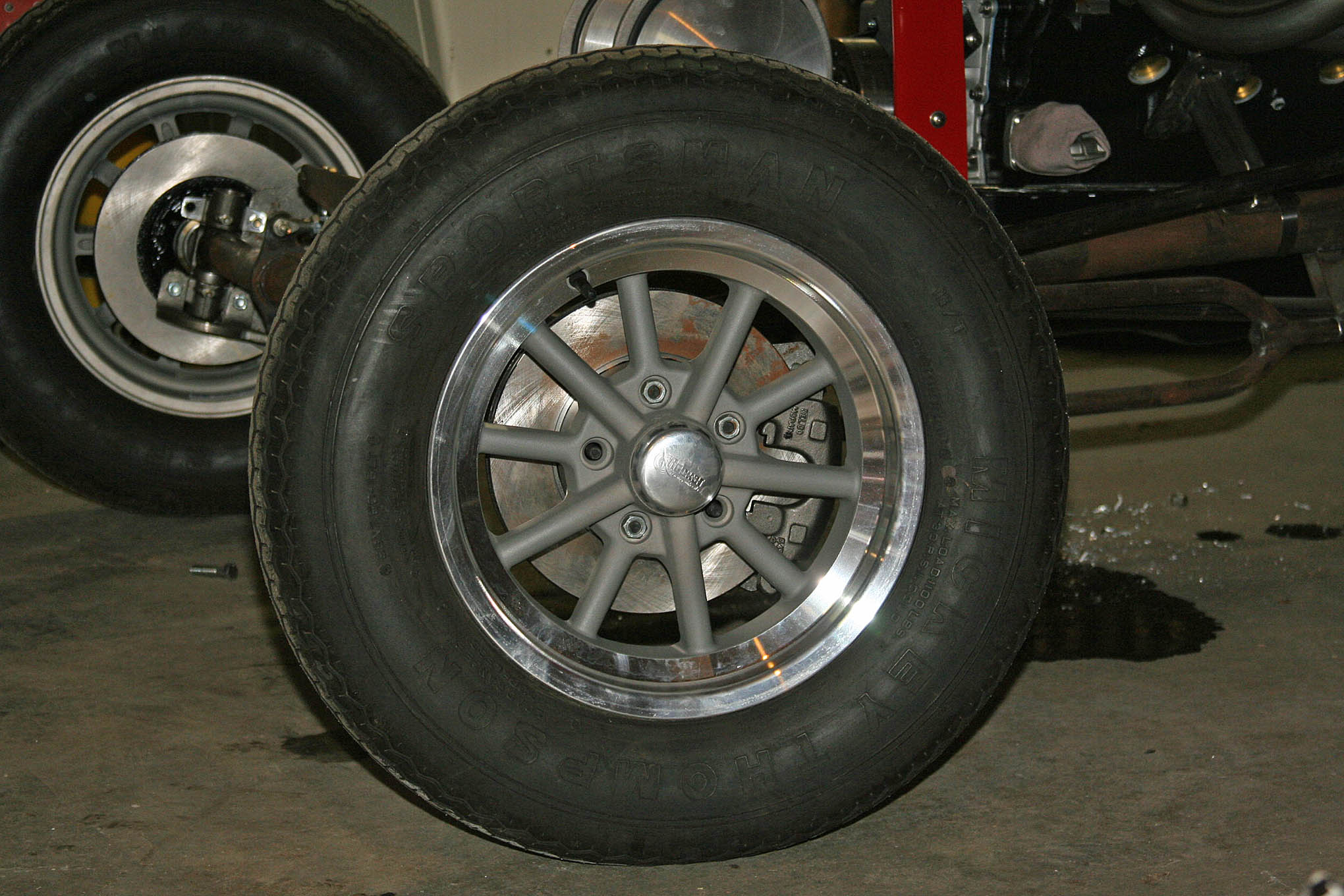 The original number 78 had 15-inch magnesium spindle-mounts up front with polished outer rims. Being a fan of stopping, we opted for front brakes, and our Ron Pope Motorsports front axle kit uses second-gen F-body rotors, calipers, and soft lines. Rocket Racing Wheels has the perfect substitute with its 15x4.5-inch Rocket Launcher series. They offer all-gray, gray center with a polished rim, and fully-polished versions. We hung them with swap meet hoops, while a set of new M&H Racemasters and tubes wrapped the swap meet 15x8 Torq-Thrusts in back. The wheel/tire combos are absolutely ideal.