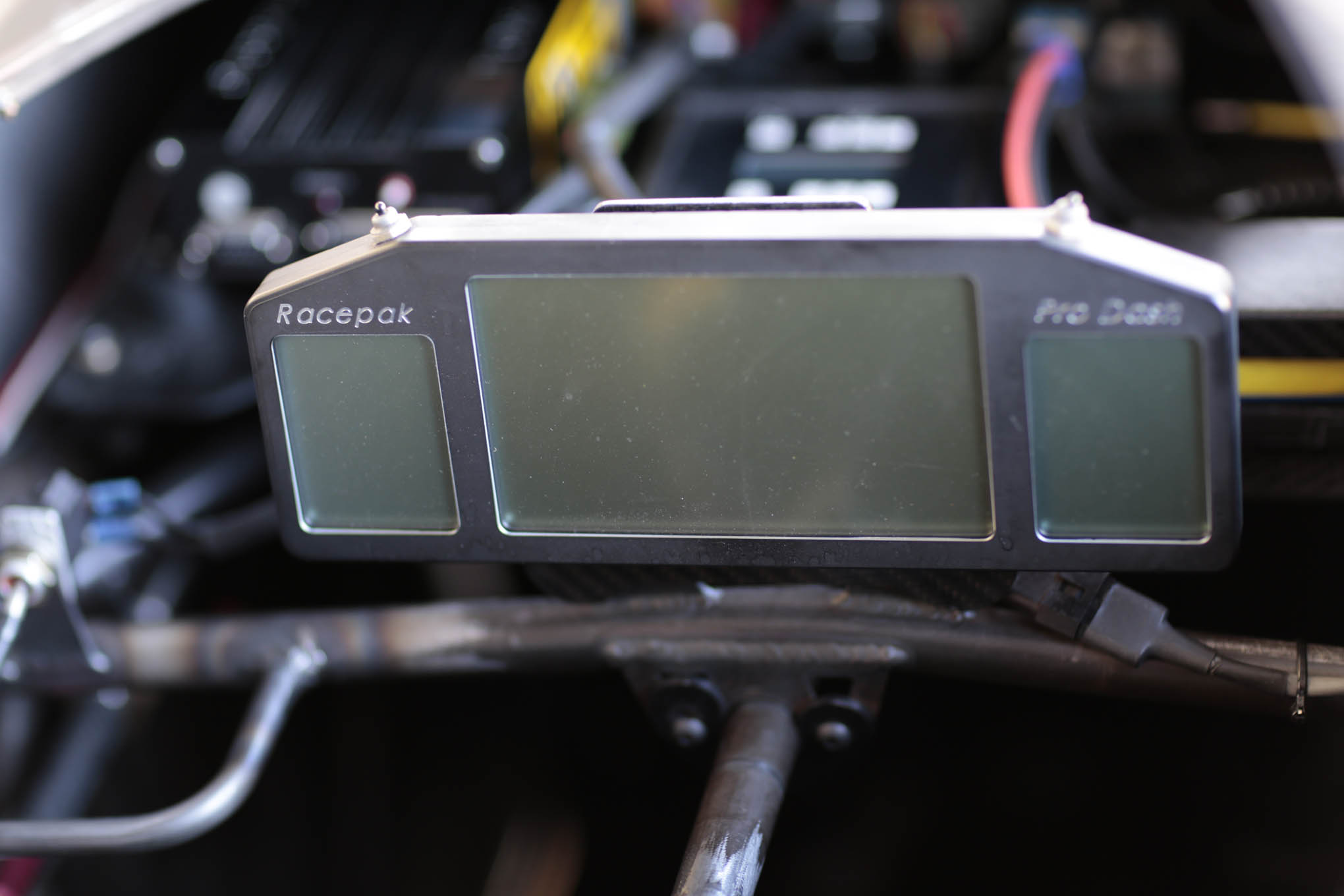 "A Racepak Pro Dash displays the info that's simultaneously being recorded by the Pro 2 data recorder. Krista added, ""In my nostalgia cars I didn't have computers or anything."""