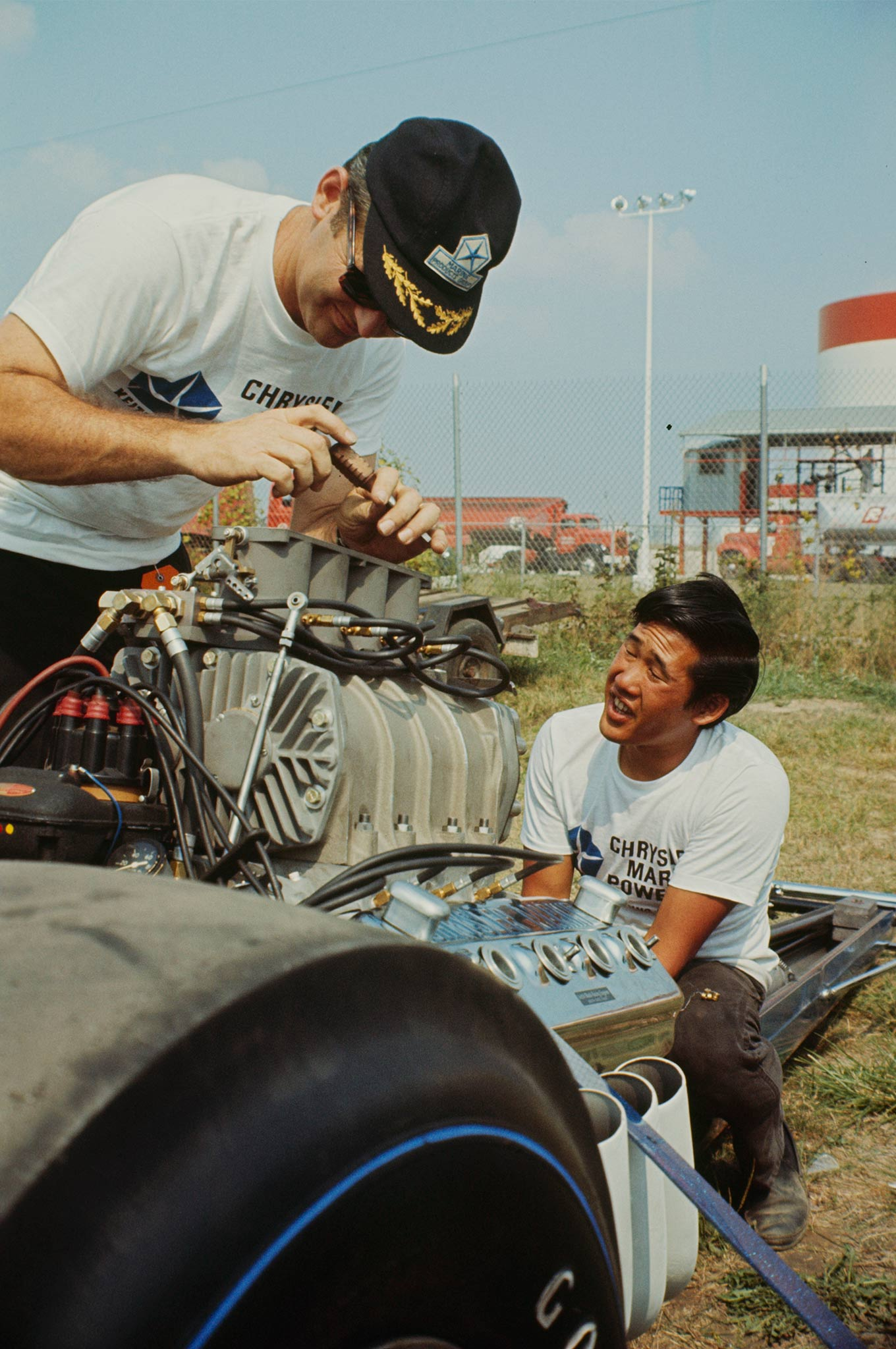 "Engine builder ""Professor"" Keith Black and Leong in the pits at the 1966 Indy Nationals."