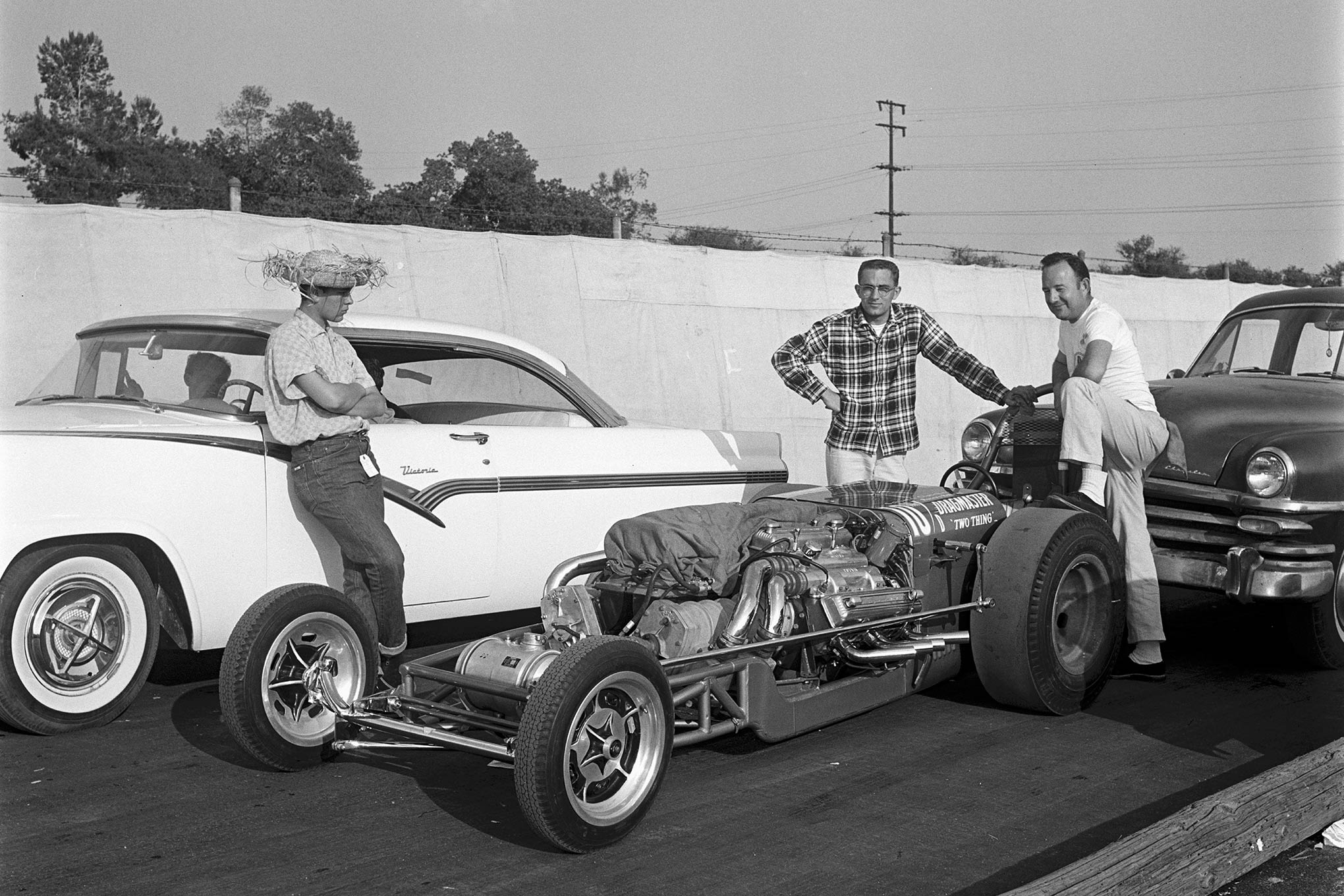 "The Dragmaster ""Two-Thing"" was one of the most famous twin-engine dragsters of the age, setting an AA/Dragster speed record at the Winternationals of 174.92 mph."