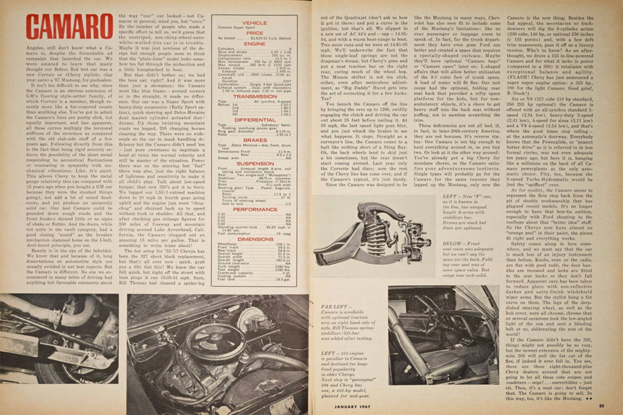 """Front seat room was adequate, but we can't say the same for the back,"" said Eric Dahlquist in the Jan. 1967 issue of HOT ROD, although it could have been one of our current staffers talking about the sixth-generation Camaro moving back to a more first-generation size, taking a toll on rear seat legroom."