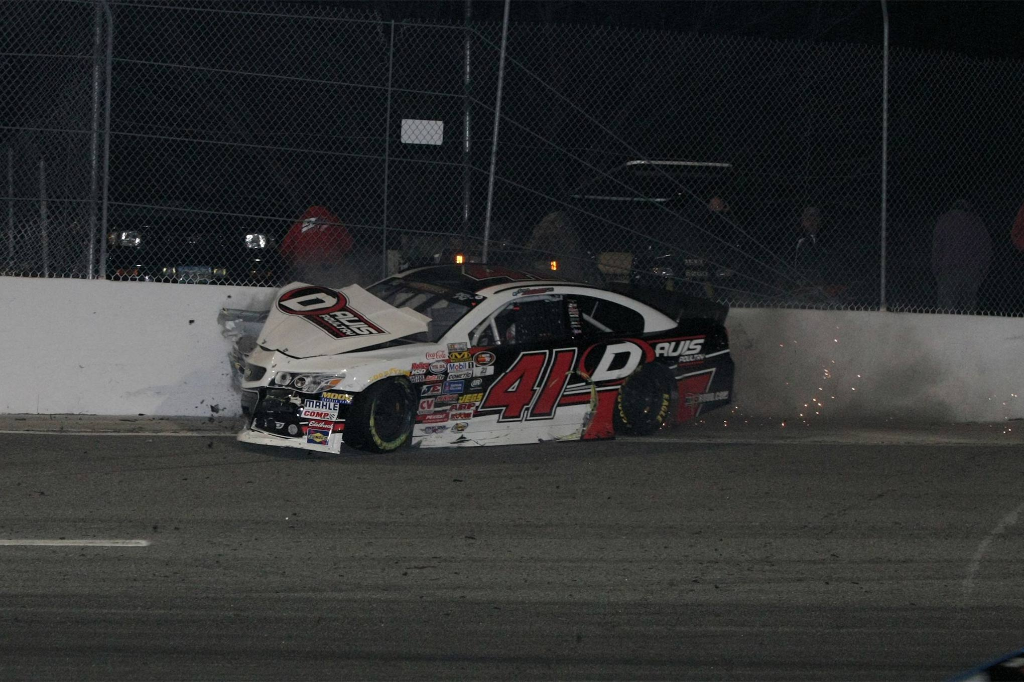 Spencer Davis smashes the fence in turn four.