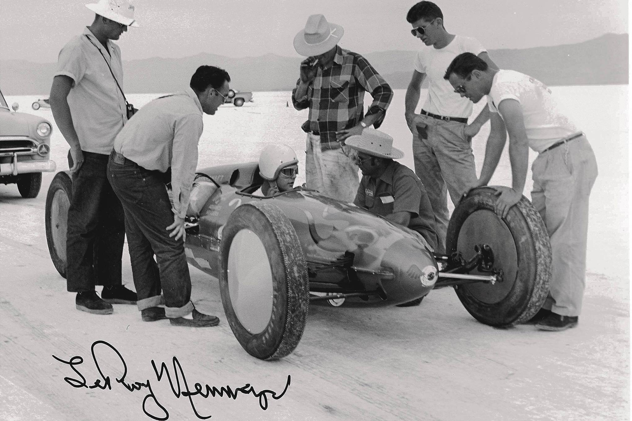 "The Reed brothers' tank was notable for its speed, its Von Dutch flames and eyeball, and, most of all, its drivers. Leroy Neumayer drove the tank to 205.71 in 1954. John Donaldson's death in the car the following year—the first at Bonneville—inspired safety rules. ""As they say,"" Sharp says, ""rules are written in blood."""