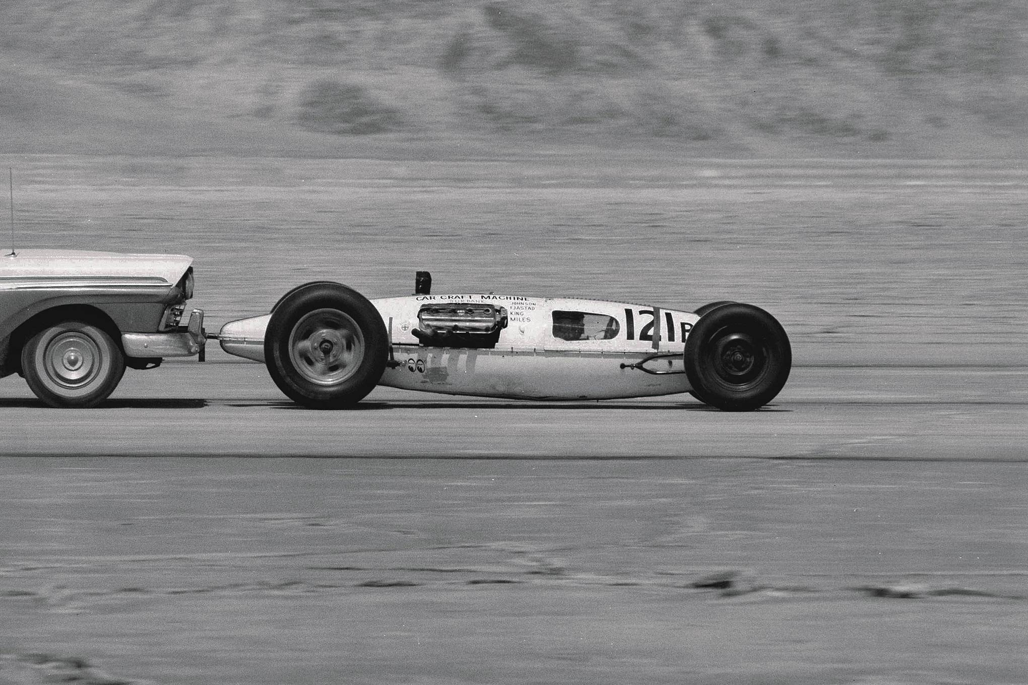 "Don Johnson—""The Beachcomber""—and chassis builder Roy Fjastad (SPE and later Deuce Factory) plopped Fjastad's 464-inch injected Chrysler into the Car Craft Machine tank and ran 247.59 in 1961."