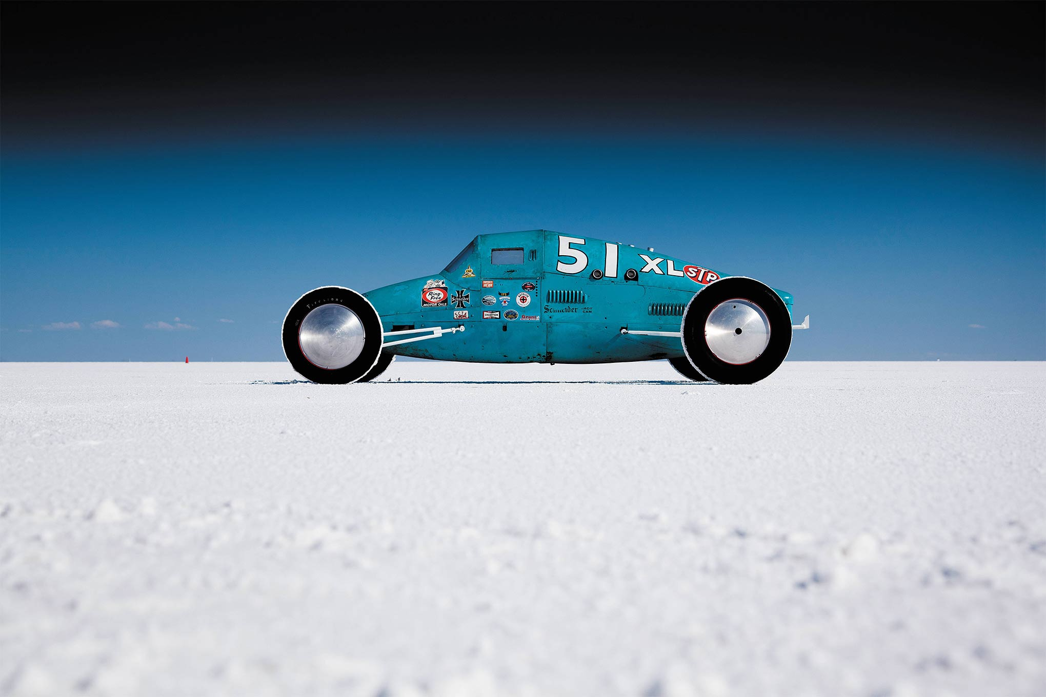 All lakes cars are unique but few are as distinctive as Lobello's Ladybug. Its high canopy and short wheelbase give it toy-like properties. Though the car never set a record, it set the stage for Lobello's following record-setting car.