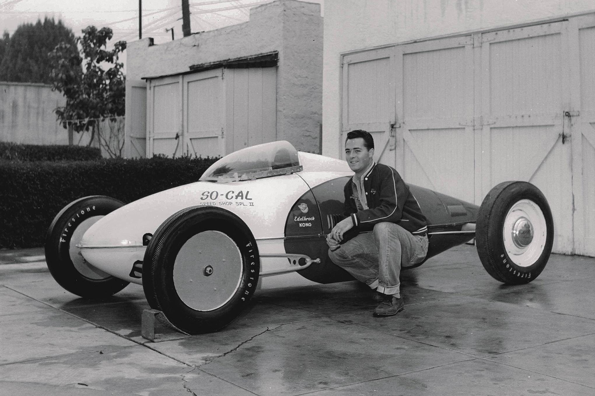 SO-CAL Speed Shop ran two of the 13 tanks that Bill Burke built. Alex Xydias' partner, Dean Batchelor, hired Neil Emory at Valley Custom to transform one into the SO-CAL Streamliner, the first car to go 200 with a Flathead. Xydias and Clyde Sturdy, seen here, finished this one. The car's fastest one-way run at 198.340 mph with Flathead power seemed a major triumph at 1952 Bonneville until Ray Brown and Mal Hooper's Chrysler breezed just shy of 200 that week.