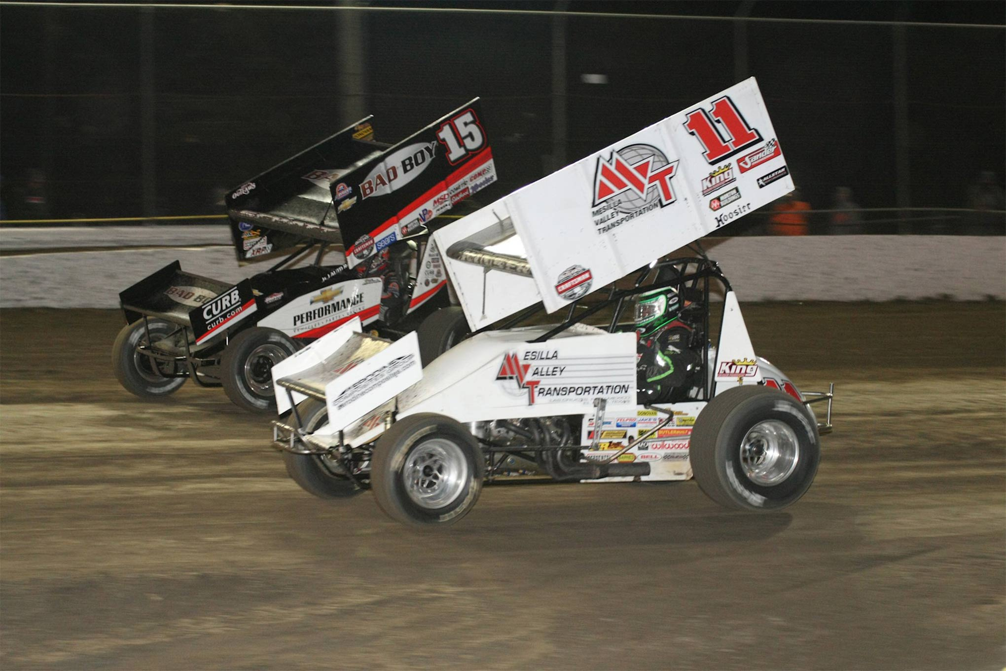 Defending WoO Sprint Series Champ Donny Schatz (15) experienced his first DNF in 178 WoO features.