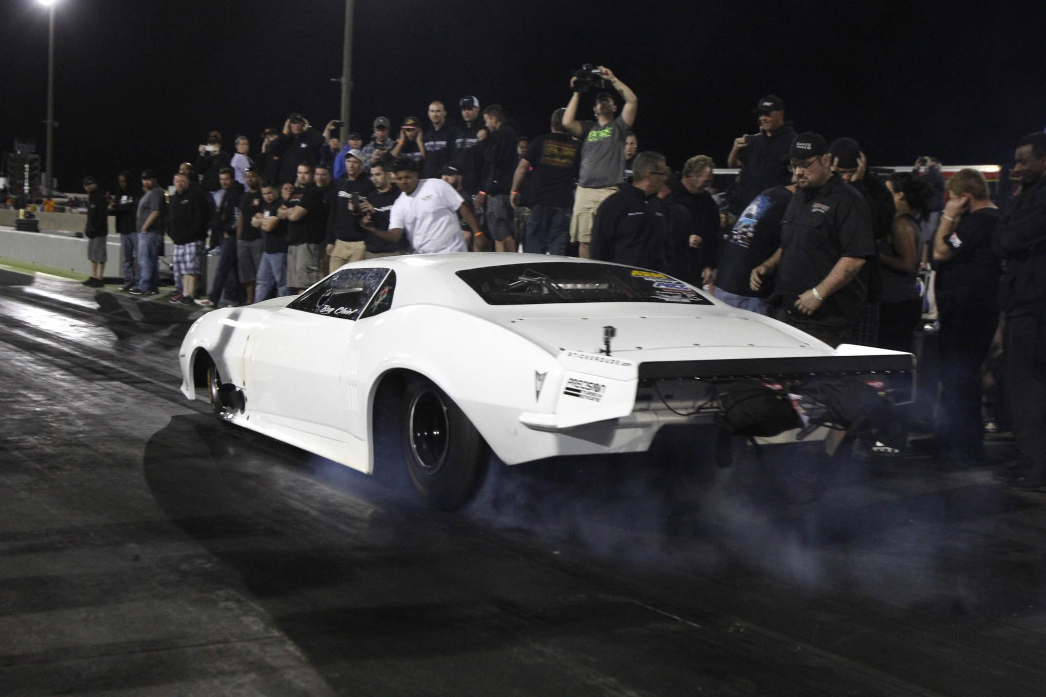"Though he got bumped out of the qualifying ladder, Justin Shearer from Street Outlaws made several exhibitions in his newly built ""CrowMod."" The last pass was his best, running 4.101 at 182.77. ""Too bad qualifying didn't begin Sunday night,"" he joked. His 1.04-second 60-foot time may be the fastest for a radial tire car to date."