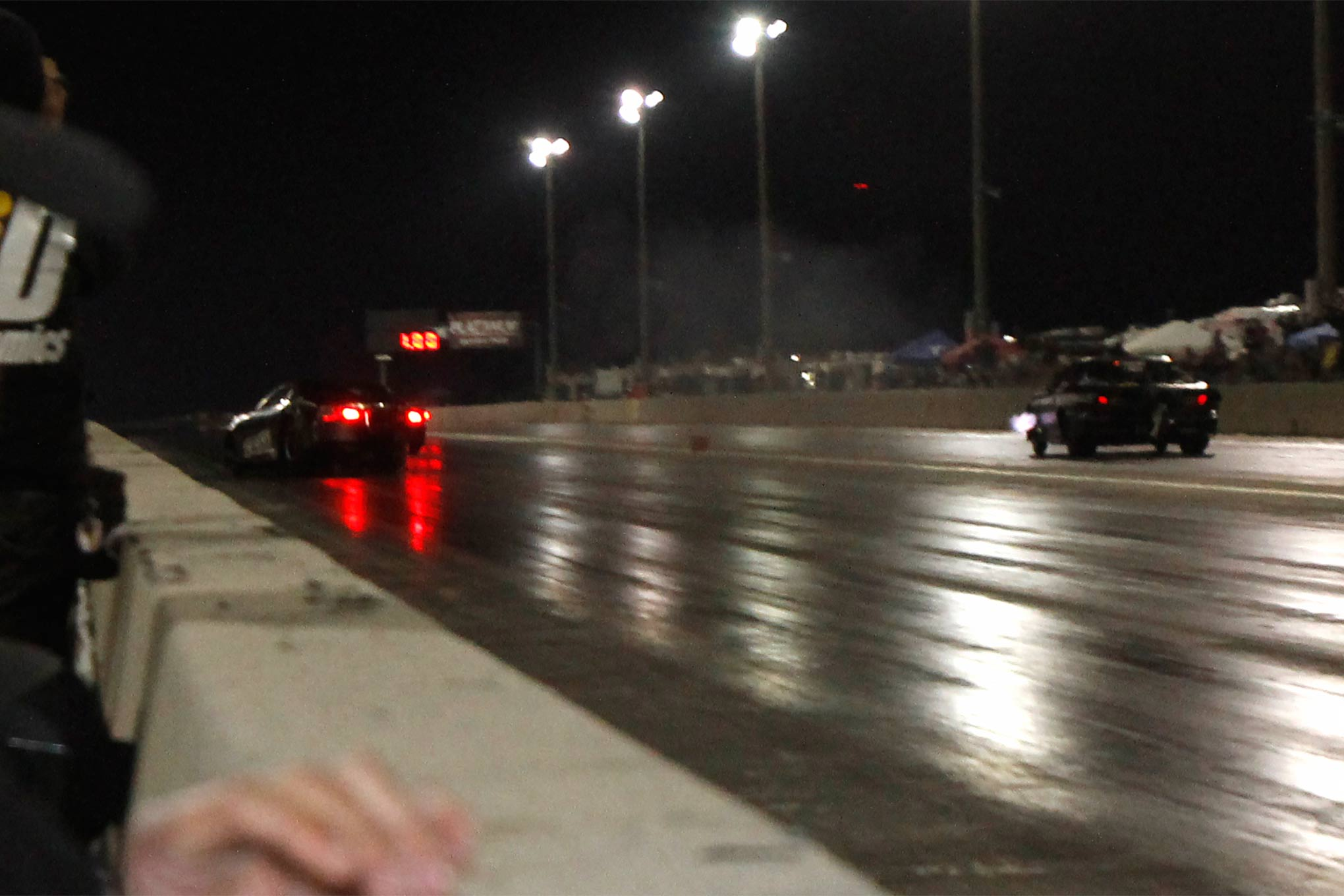 Wednesday's top qualifier Keith Haney had a strong-looking launch, but the car got squirrely and he brushed the wall.