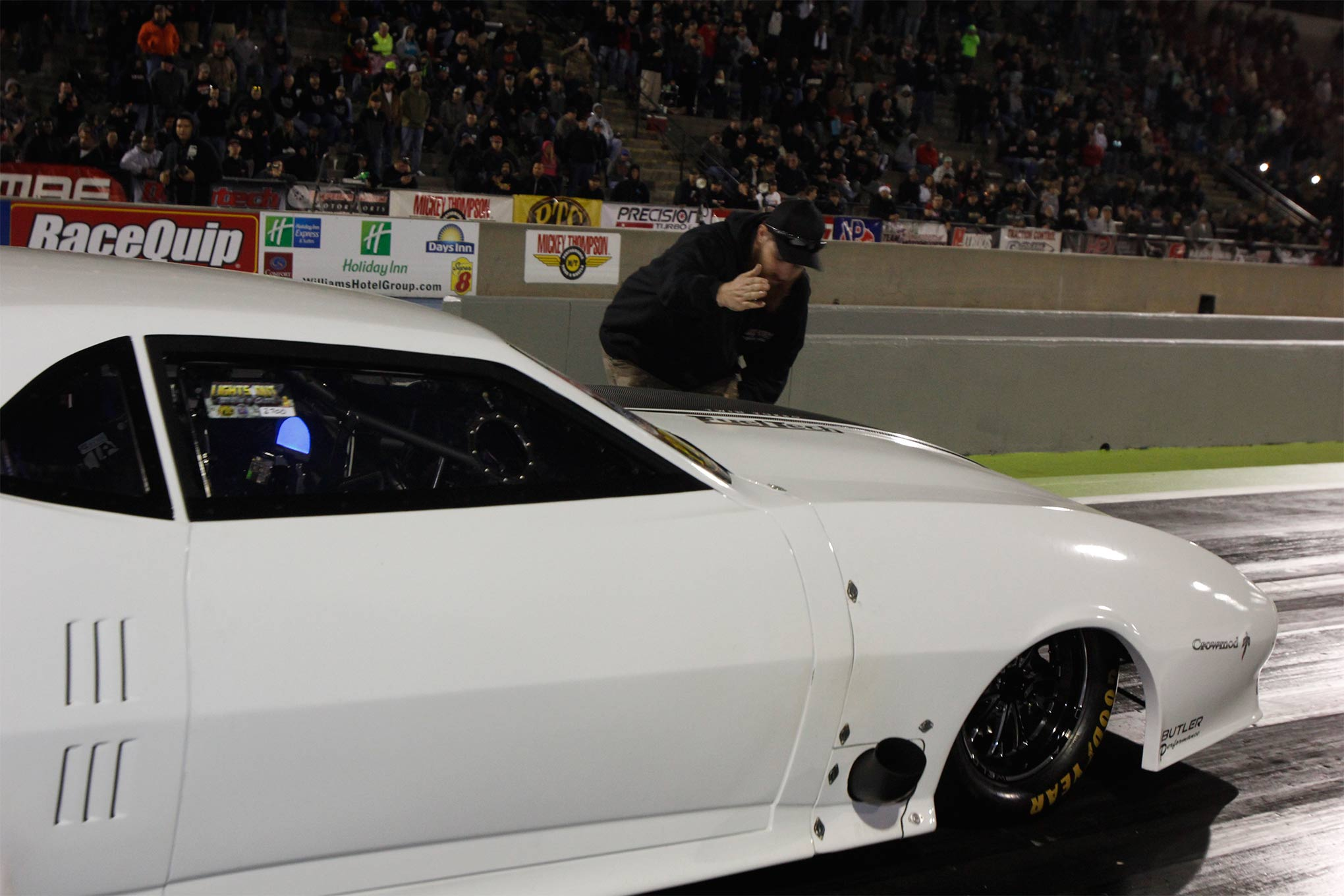 """Justin """"Big Chief"""" Shearer continued to whittle down the e.t.'s in his newly-built CrowMod. He ran a 4.217 at 174mph, good enough for the 23rd qualifying spot."""