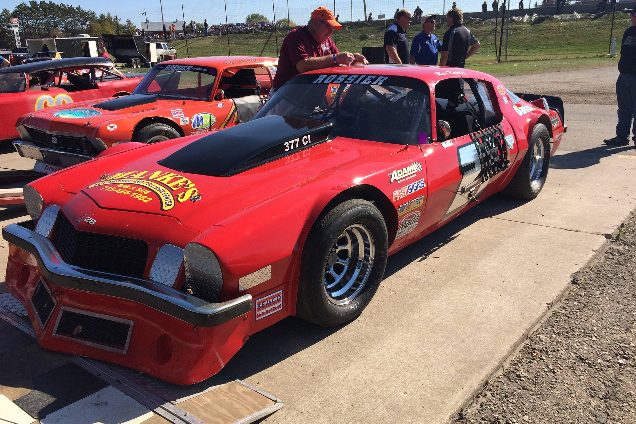 Rex Rossier's BEMCO Chassis began life as a Mustang. After Bobby Allison wrecked it at Elko Speedway in Minnesota, it took on a new life as a Camaro.