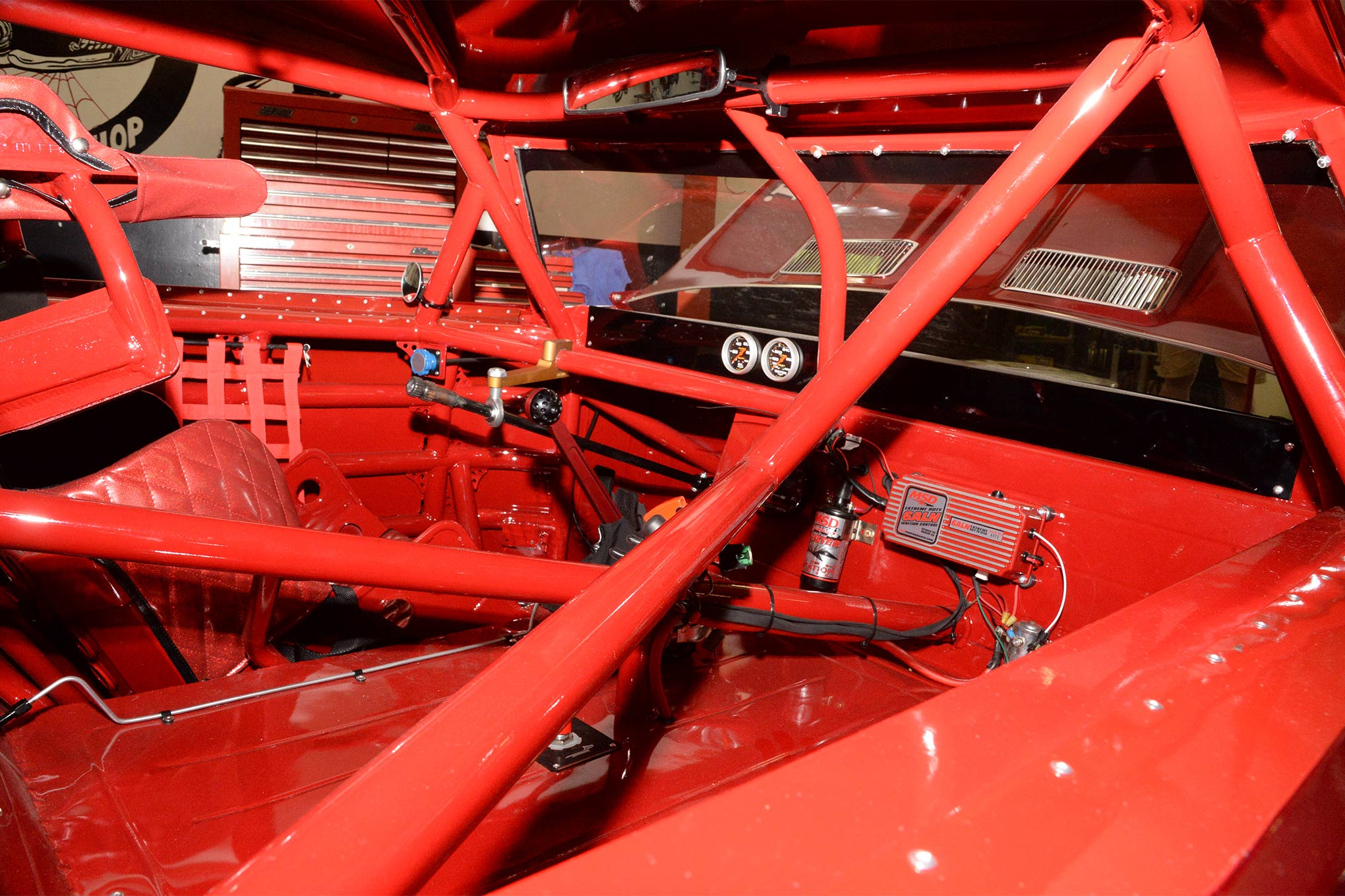 A look inside Porter's Chevelle shows it may be a Vintage racer, but this machine is up to date and looking pristine.