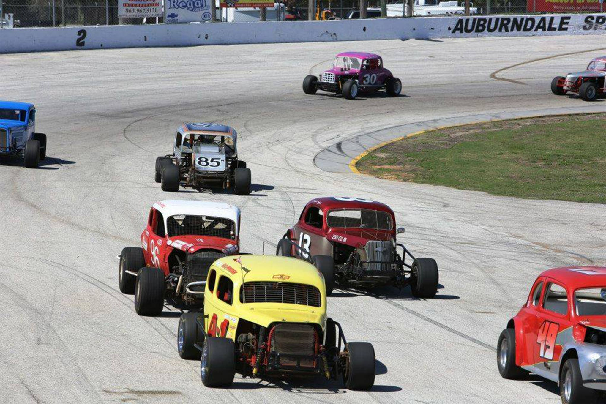 The Daytona Area Antique Racers Association in action at Auburndale Speedway in Florida