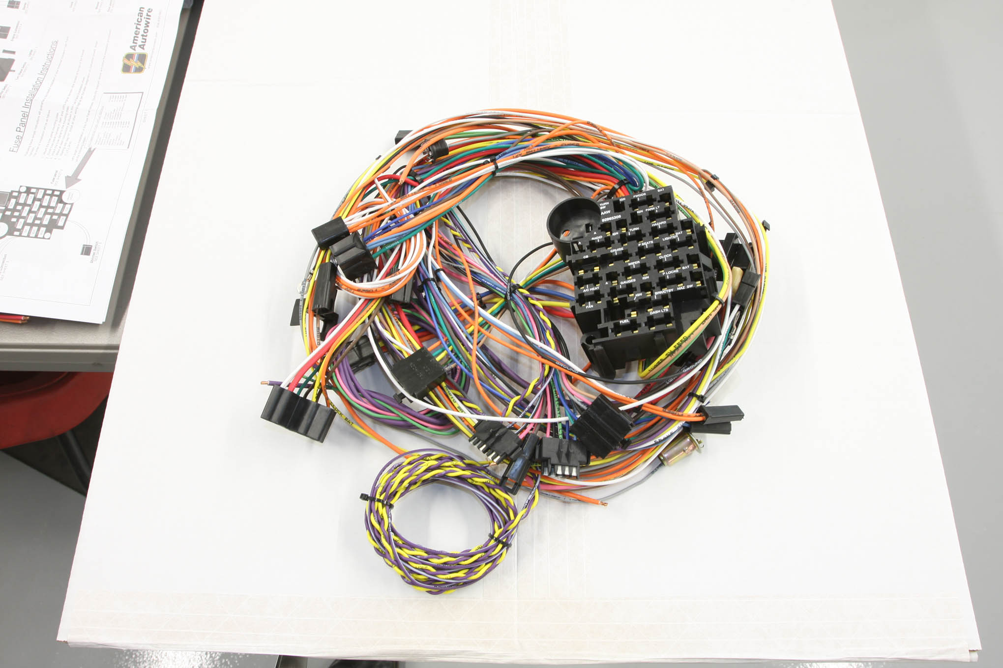 To update the wiring in his 1955 Chevrolet, Manson chose a replacement harness from American Autowire. Keep in mind, extra circuits allow the addition of electrical accessories at a later date.