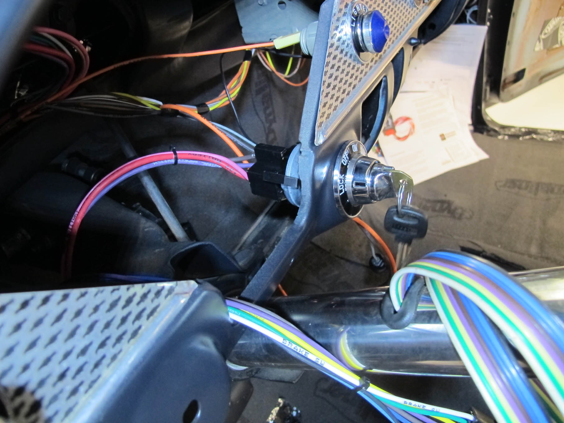 With the ignition switch installed the American Autowire harness simply plugs in.