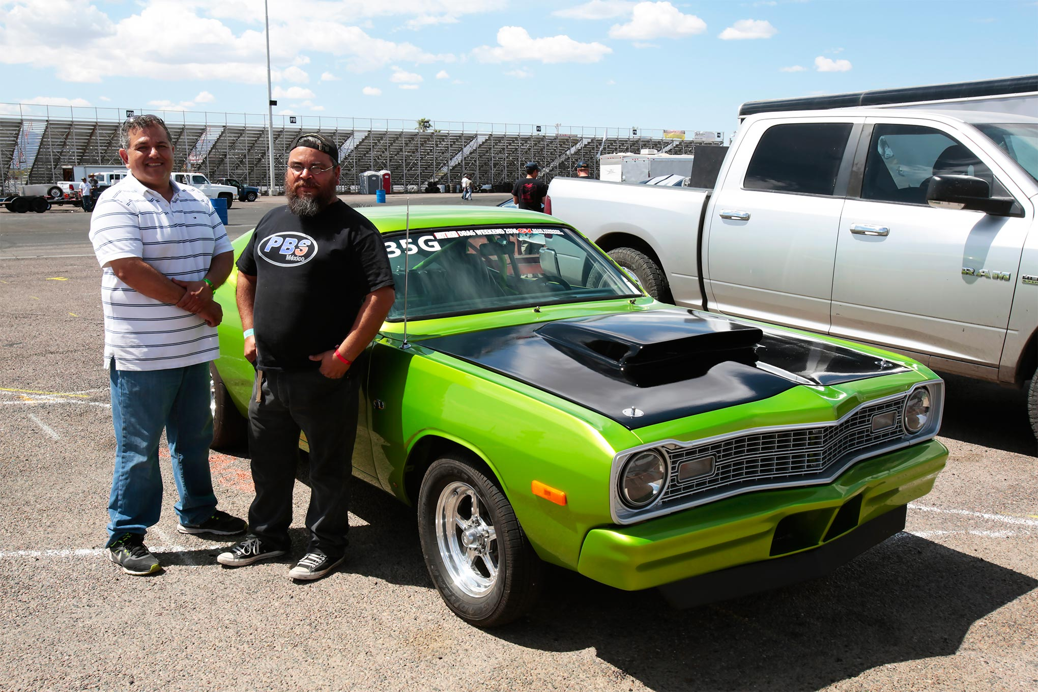Abraham Vega, left, and Luis Corbala have been friends for years and tried to get the Bee ready for our first Drag Weekend. After a lot of last-minute wrenching and paint, the two managed to get the car in shape for our second running of the event.
