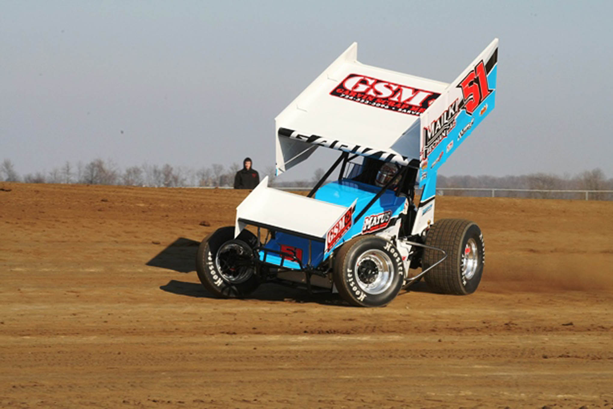 Johnny Garvin slings the mud on his qualifying lap.