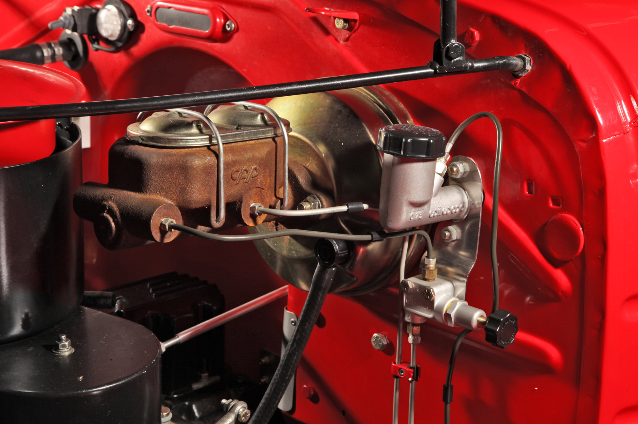 The cars are a mix of custom and production parts. For example, Bill Shields used Classic Performance Products' version of the GM master cylinder and booster opting for an underdash pedal assembly, though these cars originally mounted the master cylinder under the floor.