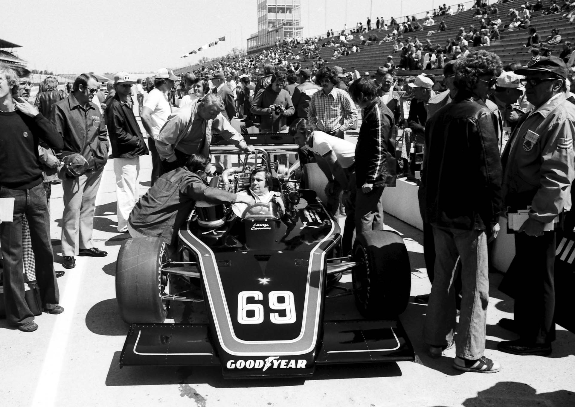 Cannon in the beautiful Hoffman Indy Car at the Brickyard in 1976.