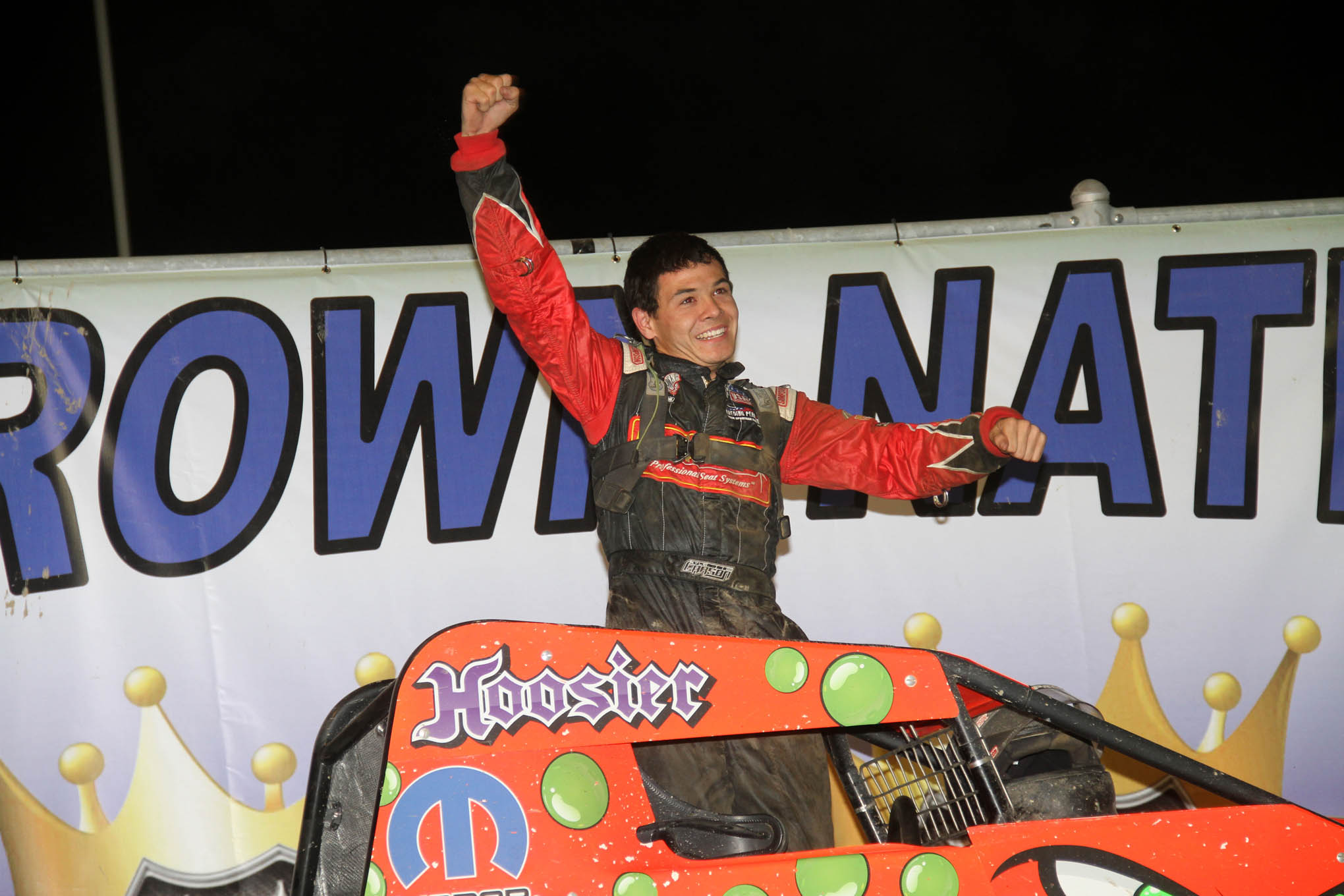 Kyle Larson during a victory celebration at the Eldora Four-Crown Nationals.