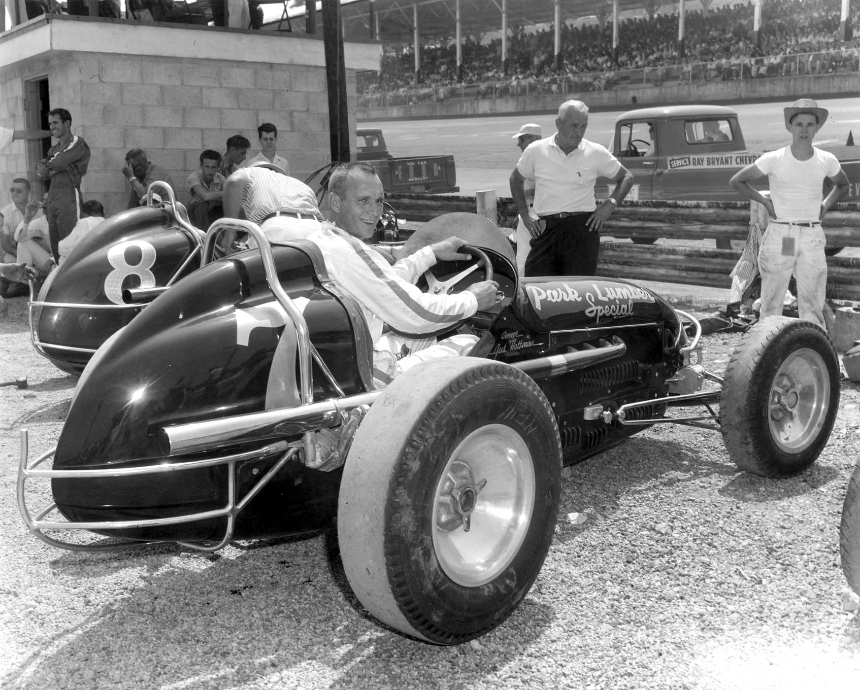 Back in the early days, Gus fielded this black Number 7 sprint car. It's shown here at the Dayton Speedway.