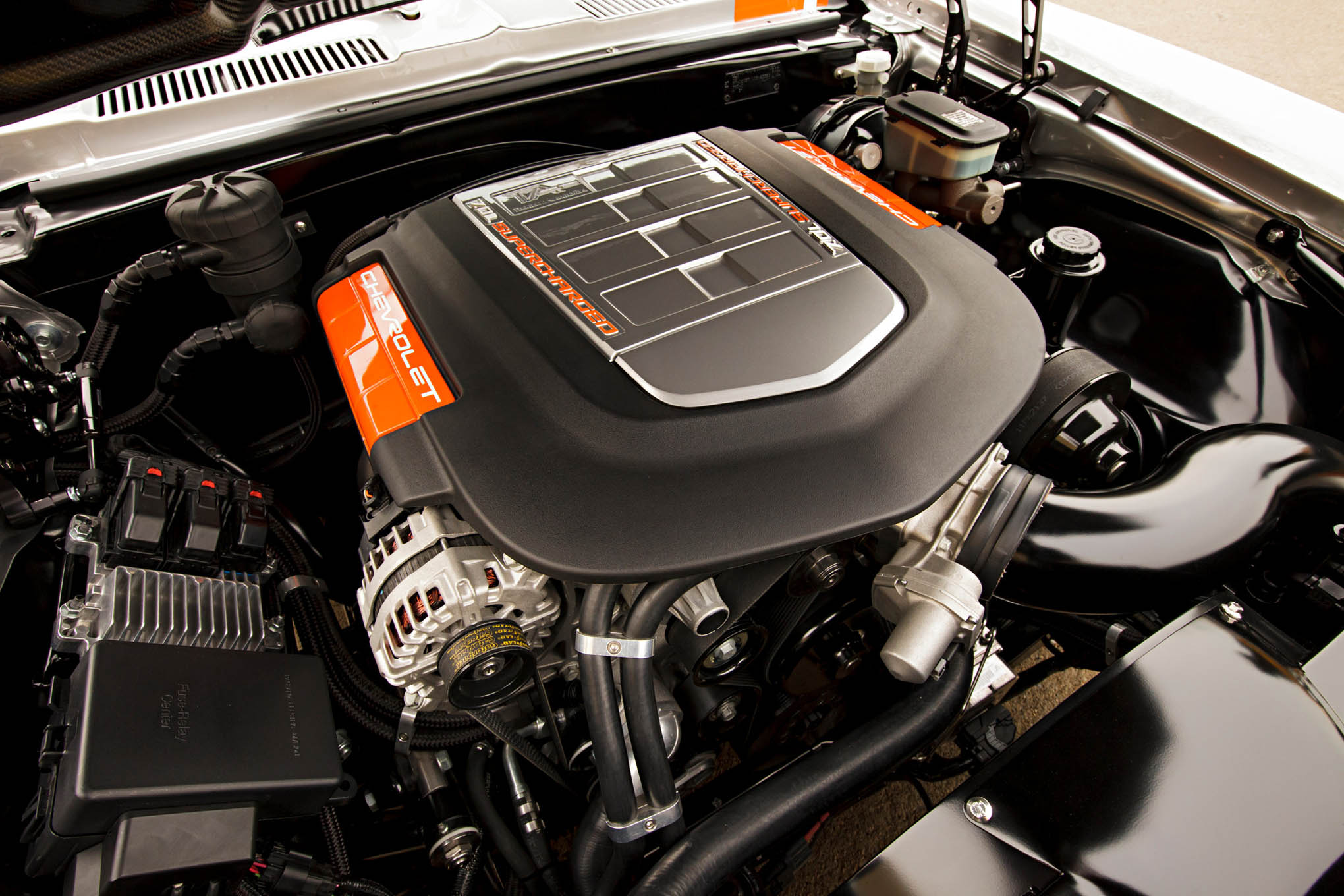 Thanks to a new cam and ported LS9 heads, Mayhem's supercharged LS7 produces  877 hp.