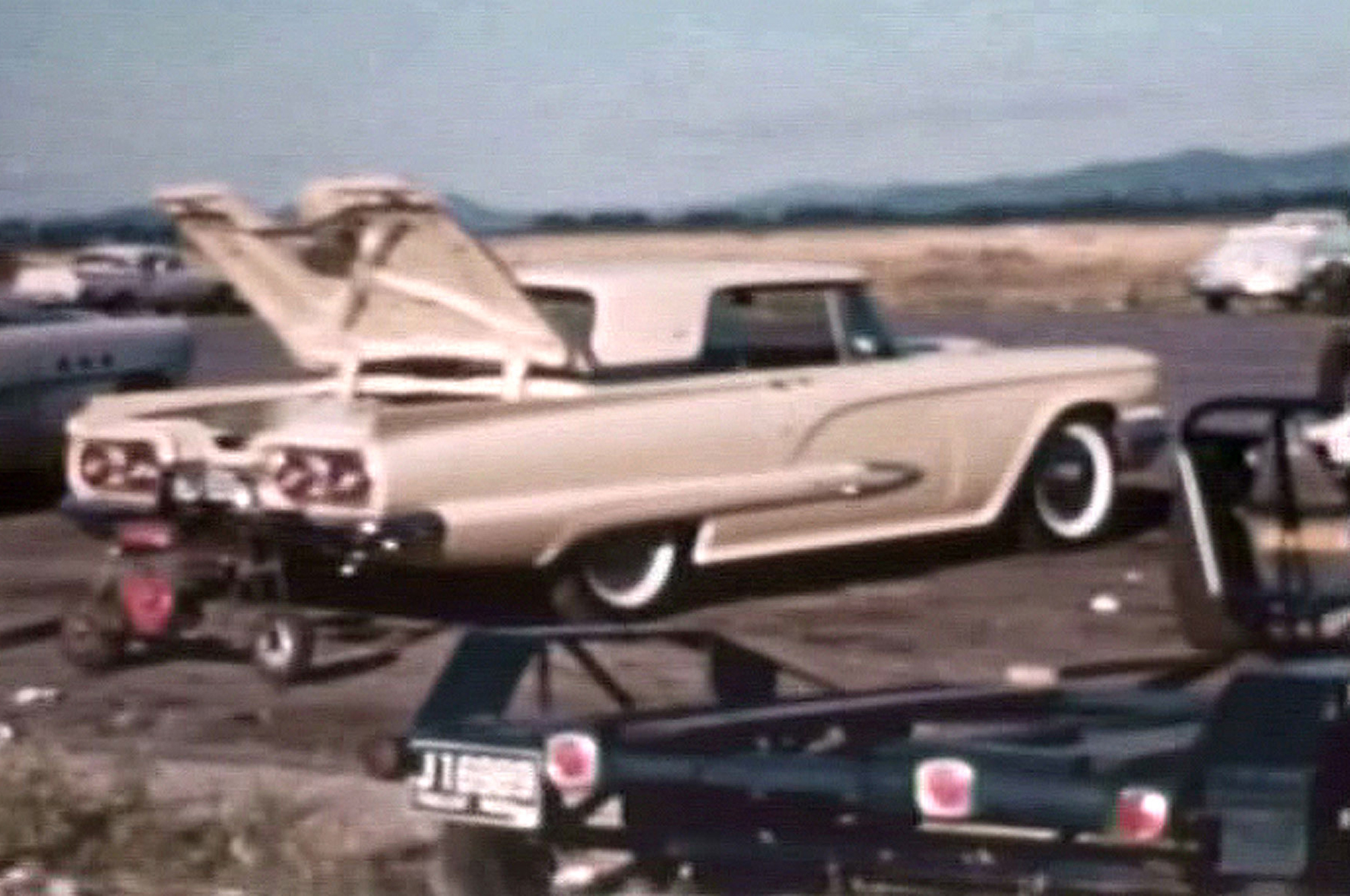 George Warsinski's Thunderbird was significant for more than its optional 430. In stock form, the car ran a 16.69-second e.t. at 84.03 mph, but the crew got it to 14.86 at 94.55 mph on nitrous. Bear in mind that's a 4,300-pound car with a 2.89:1 gear. The photo is rough because it's a capture from 8mm film.