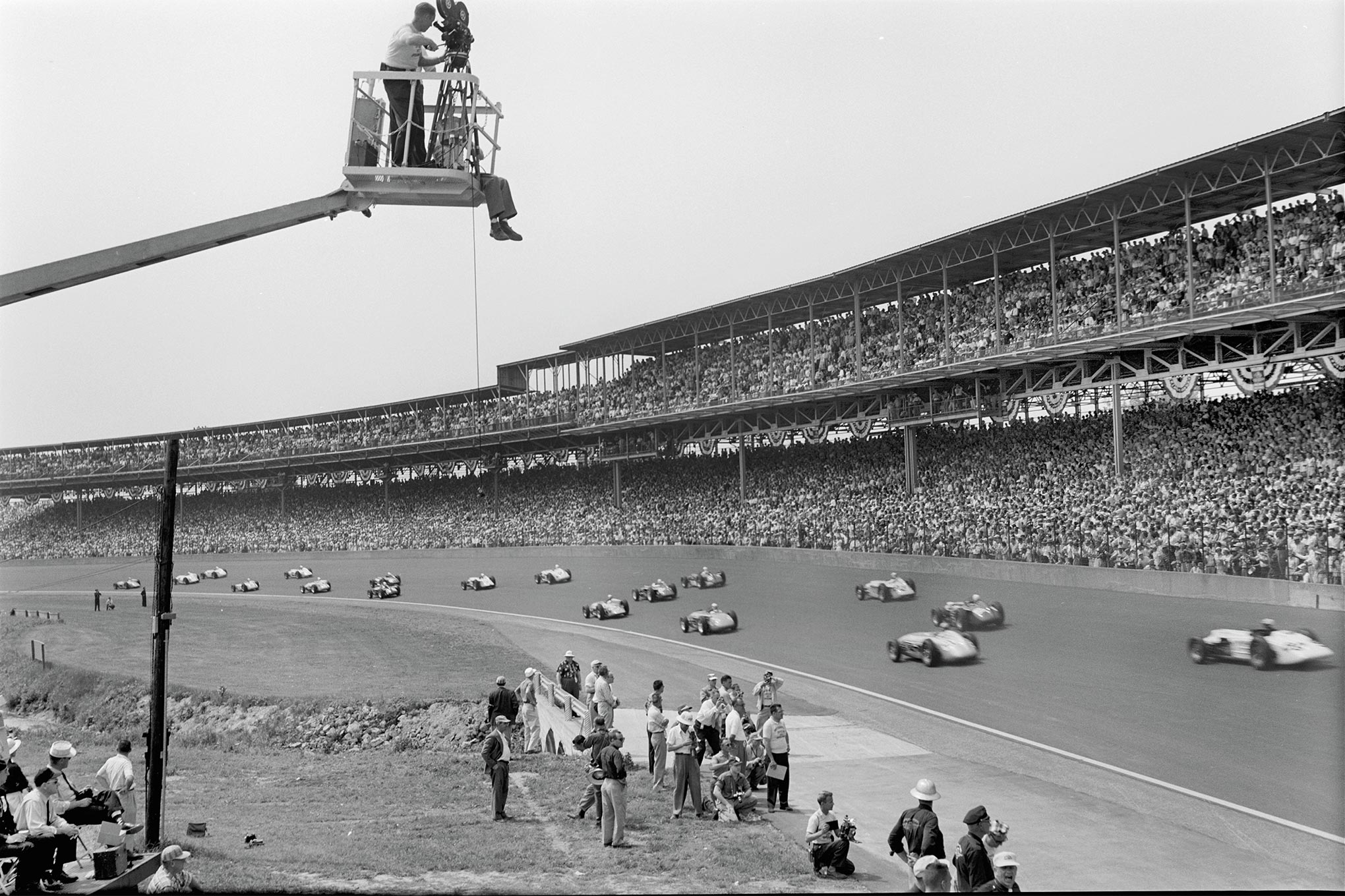 """Indy's 135.601-mph race average was fully 5 mph faster than the previous record speed, despite lowered USAC displacement ceilings of 255 cubic inches (down from 274 ci) for unblown engines and just 171 inches, supercharged (previously 183 ci). Meyer-Drake Offys powered 50 of 54 entries and all but two of the 31 starters. """"Chances of the Offy being replaced as king of the race engines don't appear anywhere in sight,"""" wrote Ray Brock in HRM's Aug. '57 event coverage."""