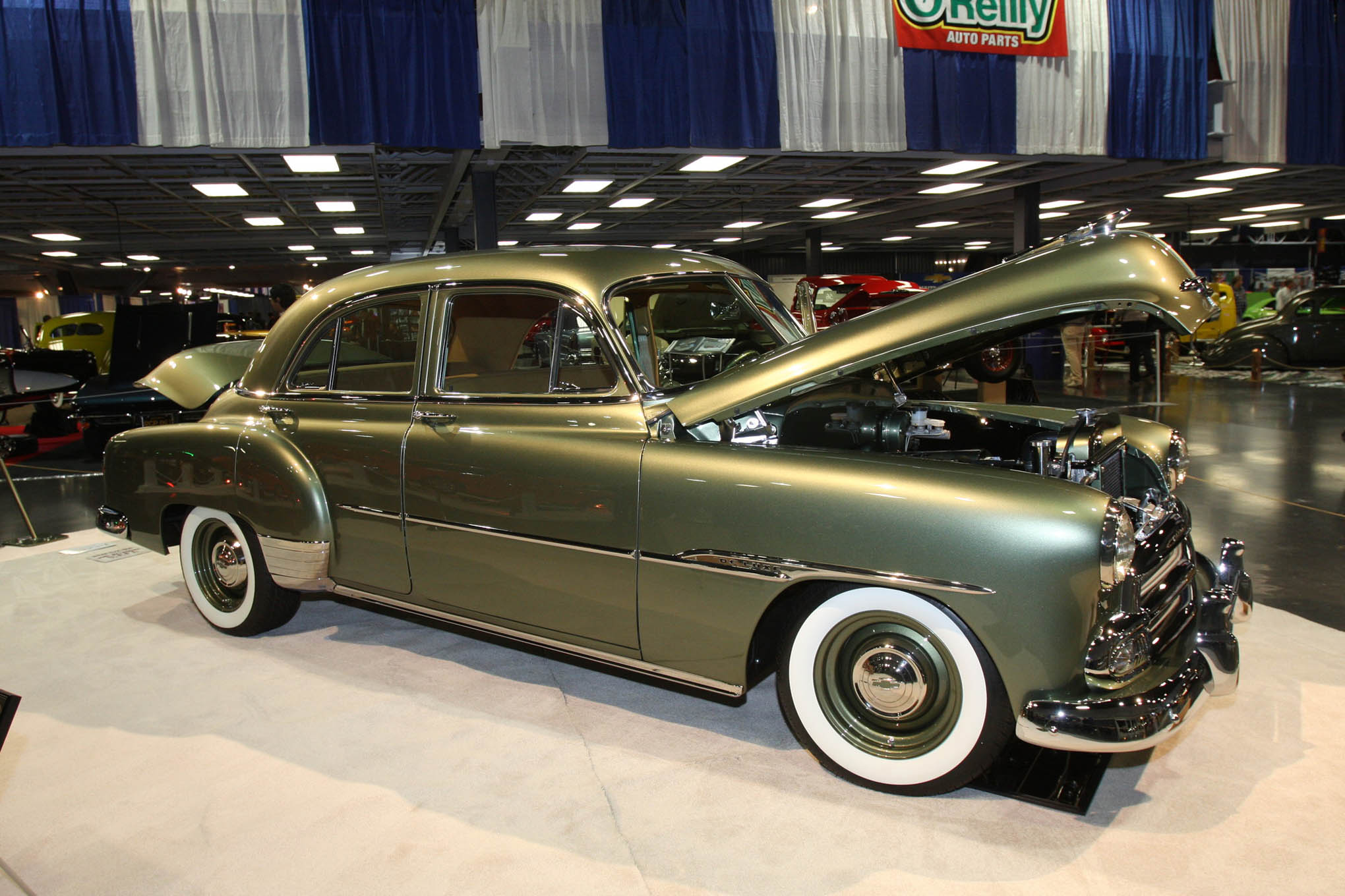 We're seeing more doors finally getting some respect. Ted and Silvia Hillyer's 1951 Chevy sedan was built by Lee's Vintage Car Shop in Sacramento. It's stuffed with an LS1 engine, with a Fatman frontend, Currie 9-inch rear, and covered with PPG Green Tea paint.
