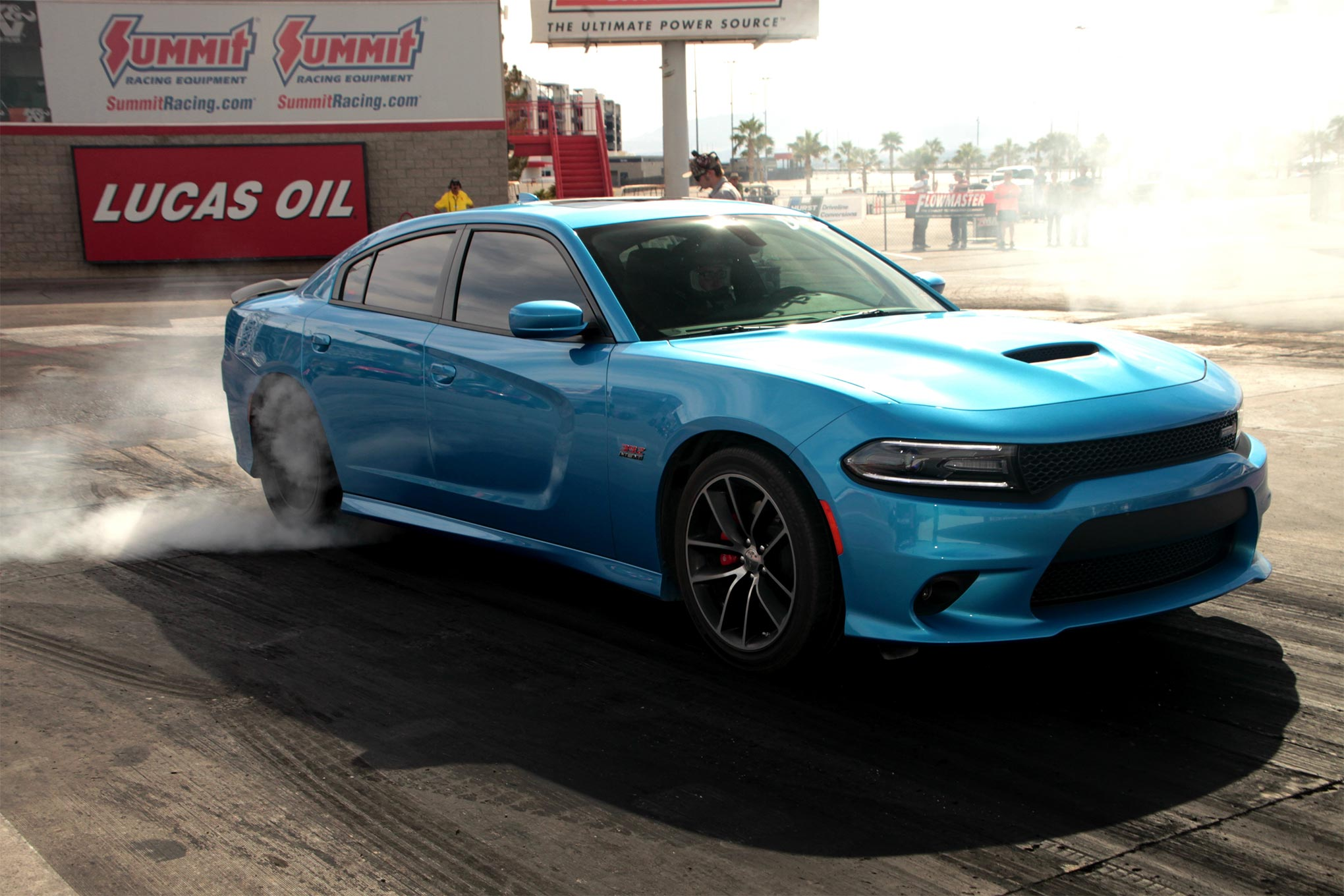 With nearly 500hp provided by the factory before the nitrous even thinks of coming on, burnouts in a Scat Pack Charger are as easy as dipping your toe into that well of modern muscle under the hood. Heating up those drag radials is one of the most fun—and necessary—parts of drag racing!