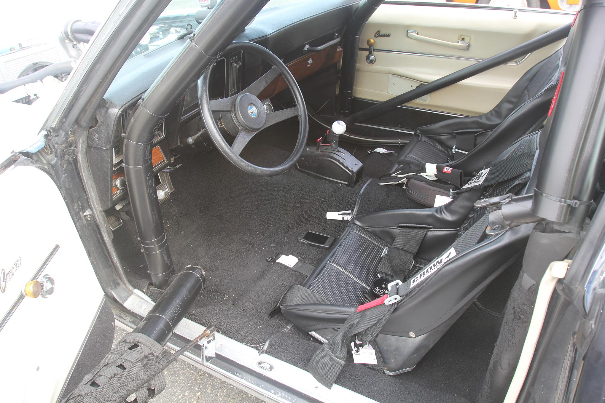The interior of the Camaro is race-car minimal. The shifter controls a TH400 trans without the benefit of a transbrake.