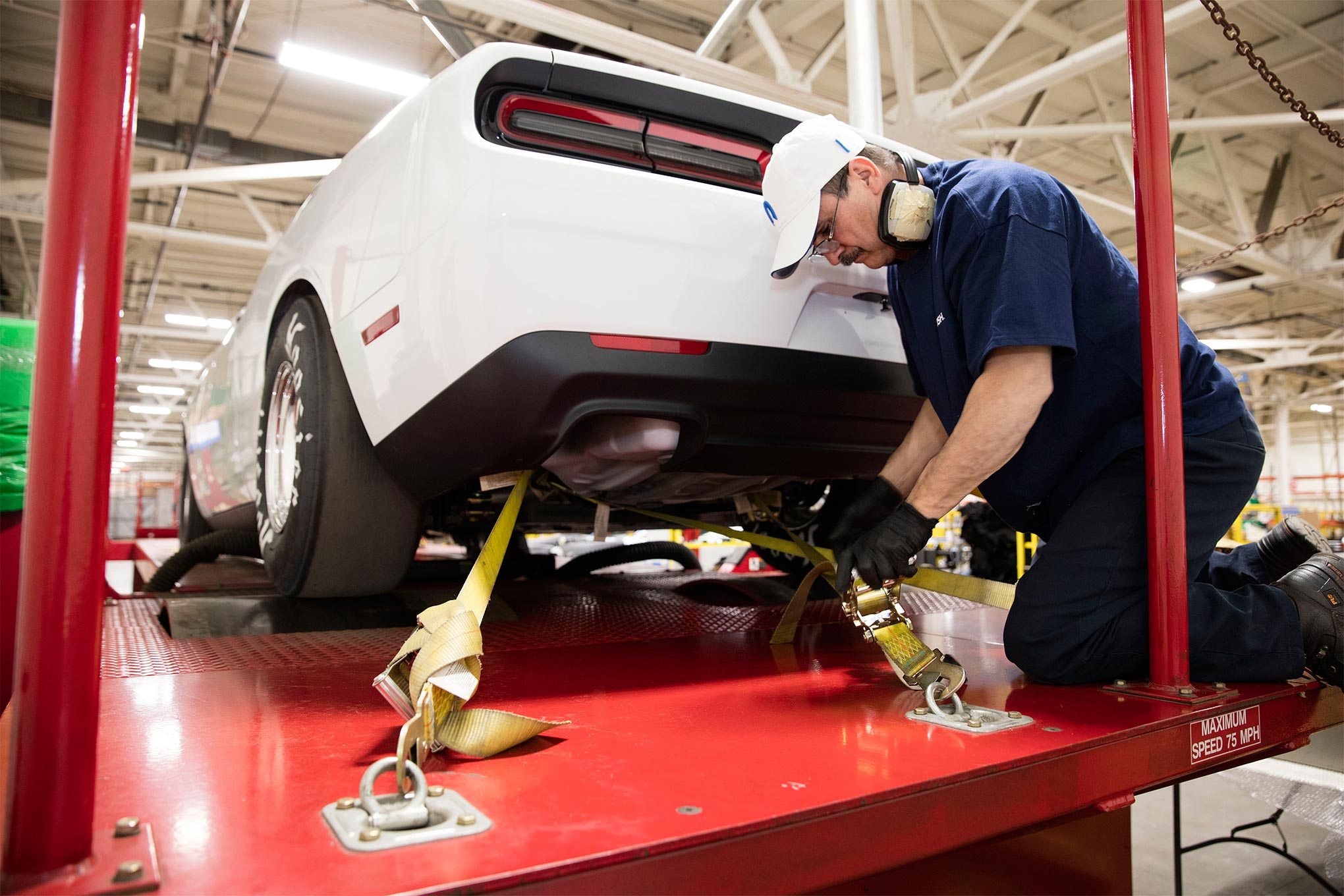 Once final assembly is complete, each new Mopar Challenger Drag Pak goes on the rollers to break-in the transmission and rear differential and to check for any leaks.