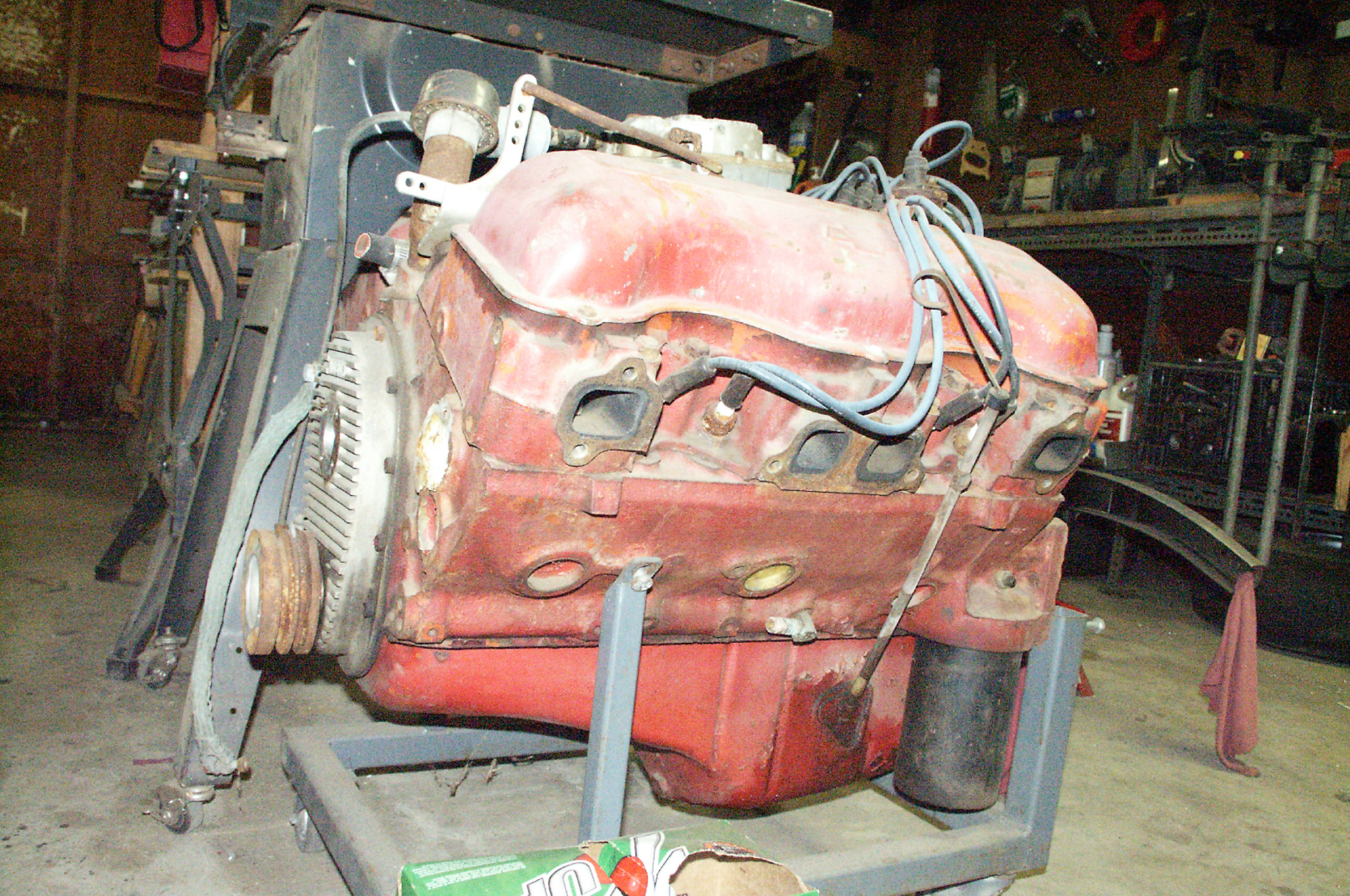 The 348-inch Chevy motor, given to Colby by Steve Lenain, was originally in a '58 Impala and then did duty in a ski boat in the 1960s. Note the engine still has its four-barrel carb and Nicson timing cover.