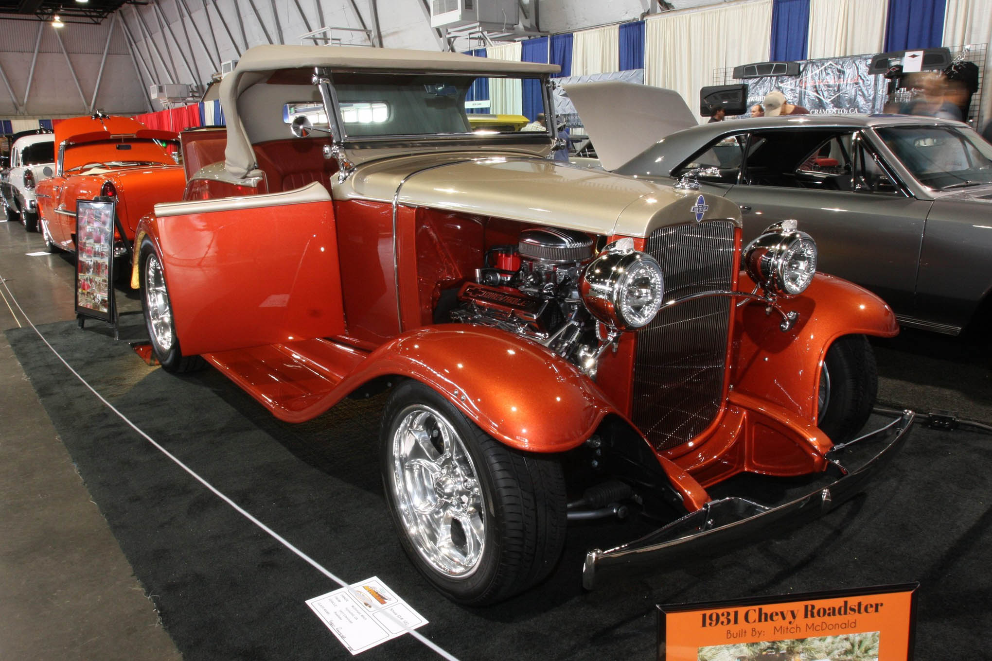 These early '30s Chevys aren't very common, and Mitch and Pam McDonald's copper and champagne steel-bodied roadster is especially eye catching. With a 465hp 383 stroker, Tremec five-speed, and 9-inch Posi rearend, it's a bonafide hot rod.