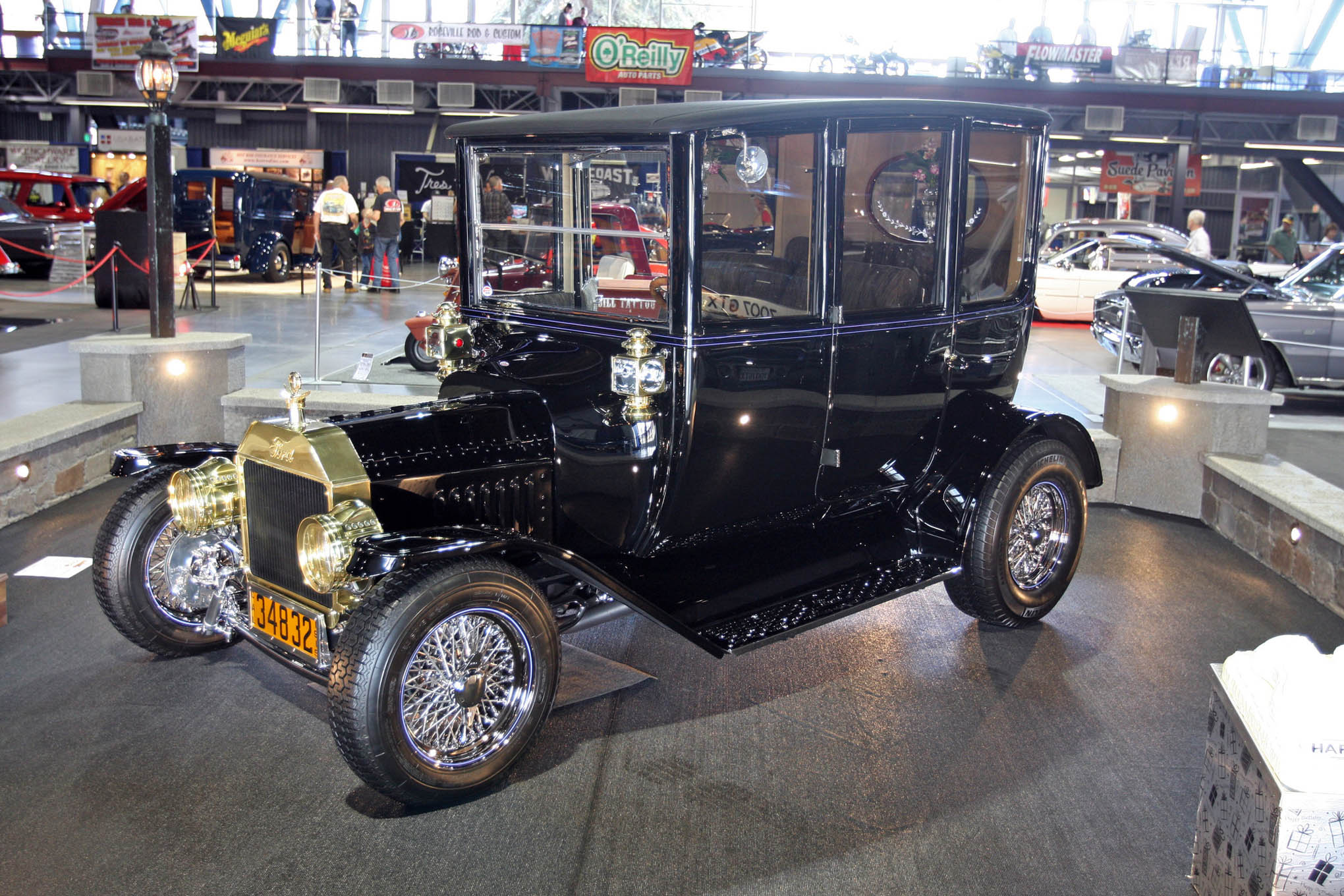 It's always exciting to run across a rare Model T center door sedan. We never expected to find a fuel-injected 347 ford engine, electronic AOD trans, and custom Jag rearend in this 1915 Ford, owned and built by Larry and Charleen Schuss.