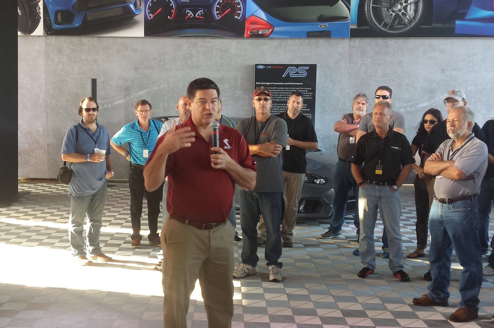 At each event there will be Ford staff (engineers, product managers, and so on) to answer questions, discuss Shelby and Ford history, and tell you all about the capabilities of the Ford Shelby GT350. Here, Jim Owens, marketing manager for Ford Performance, addresses the crowd at a past Track Tour event.
