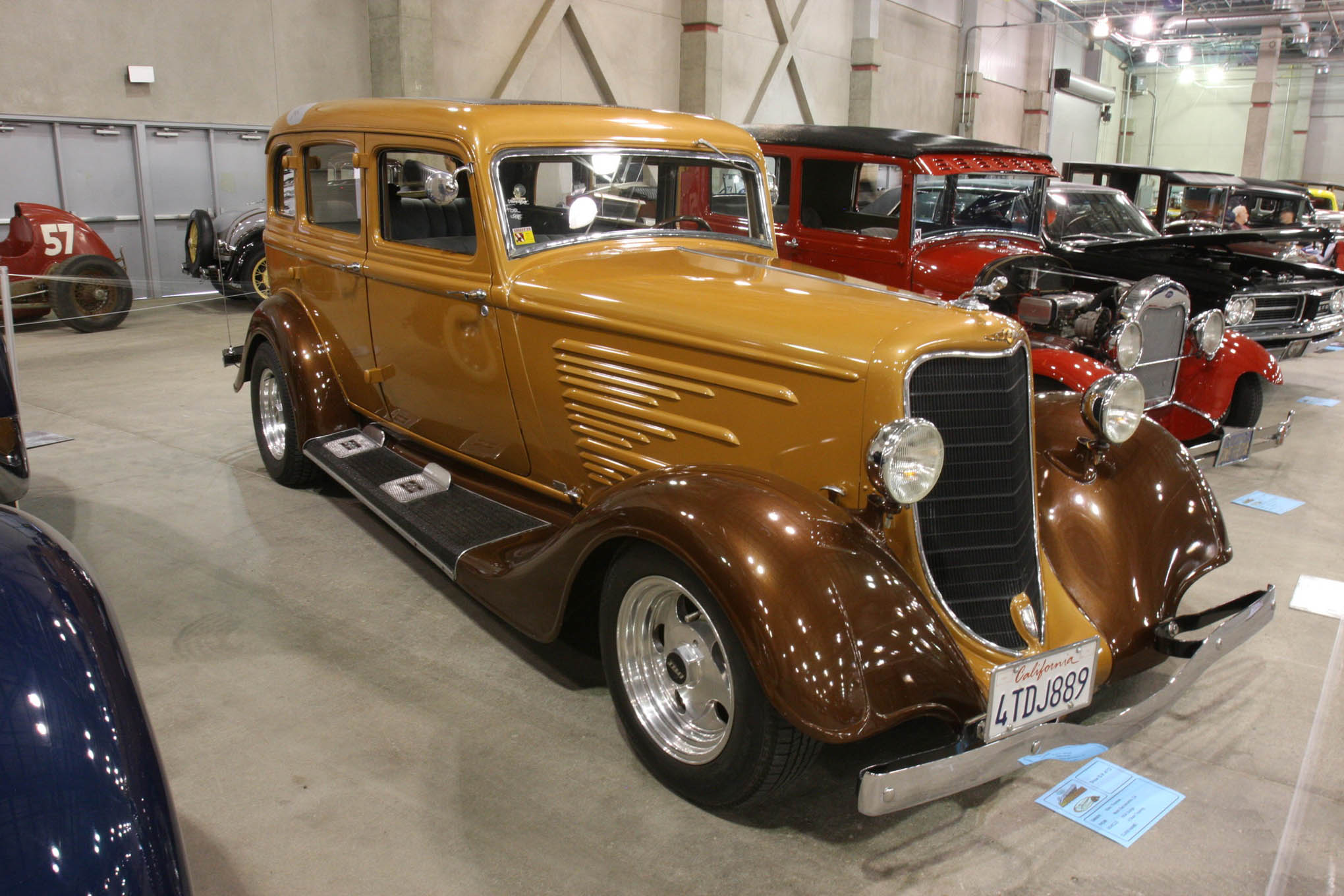 Here's another beauty for early Dodge fans. This 1934 Touring, owned by Thomas Kale from West Sacramento, looks sweet with that butterscotch and root beer paintjob.