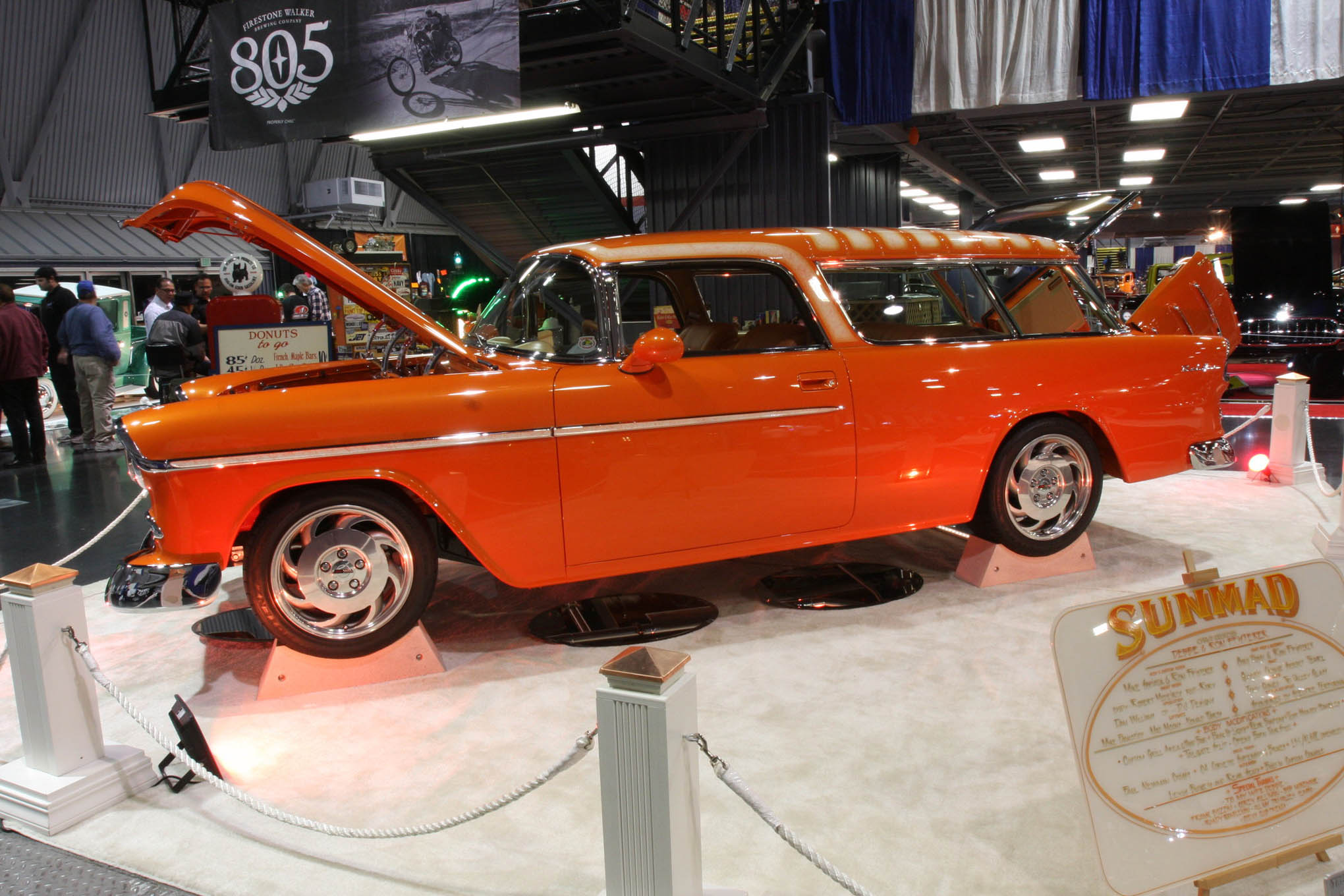 """The """"Sunmad"""" 1955 Chevy Nomad is owned by Ron and Debbie Pfisterer and is a great contemporary custom. Lexus seats, an LS1 engine, and 4L60E transmission are a few of the modern modifications."""