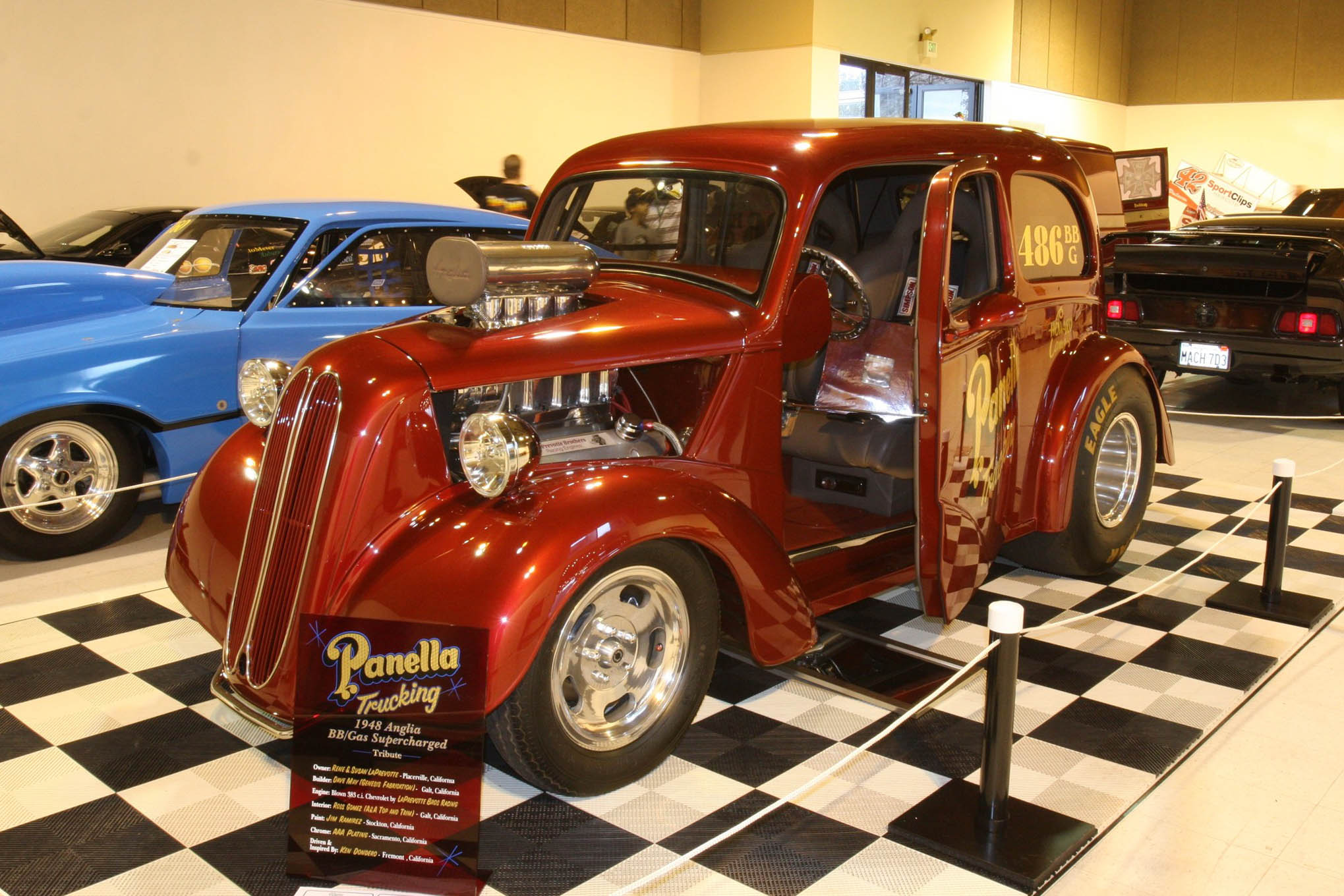 """Rene & Susan Laprevotte wanted their """"Panella Trucking"""" 1948 Ford Anglia Gasser to commemorate the late Ken Dondero, driver of Bob Panella's Gas Supercharged Anglia. Dave May at Genesis Fabrications built the tribute car, which runs a blown Chevy 383."""