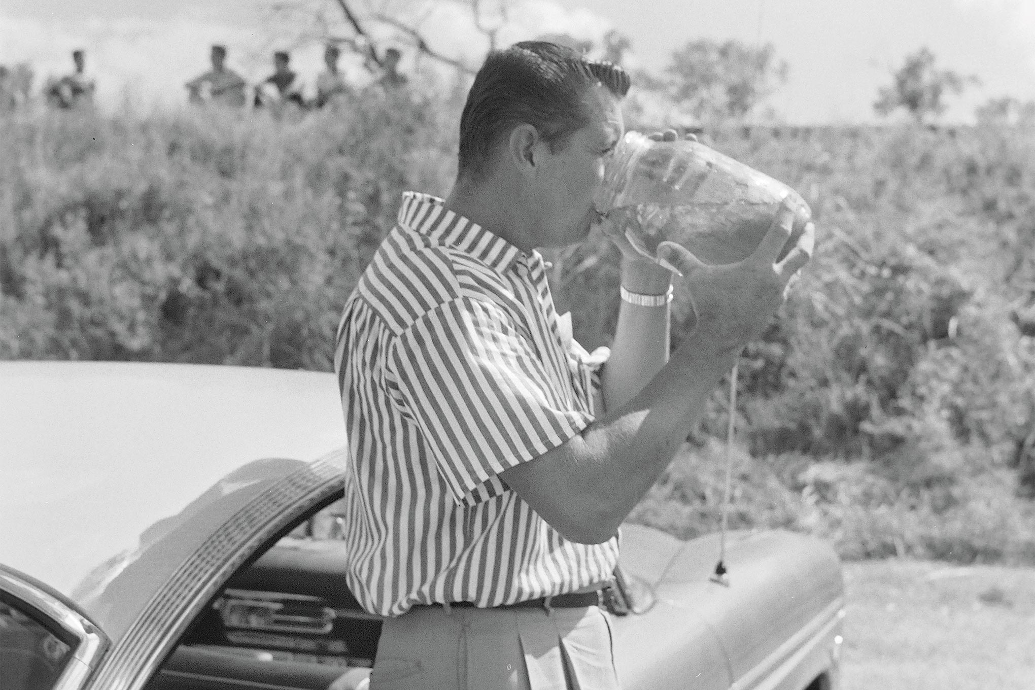 You'd need a drink, too, if you had a year like this guy's 1957!