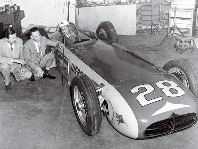 At the 1952 Indy 500, Don Cummins entered a diesel-powered race car that was revolutionary for its time. It featured a 401ci (6.6L) 380hp turbocharged diesel engine mounted on its side in a radically low chassis built by Kurtis Kraft. Not only did the 3,100-lb car win the pole position in qualifying that year with a speed of 138.010 mph, it also outran Ferrari's 12-cylinder race car by nearly 4 mph.