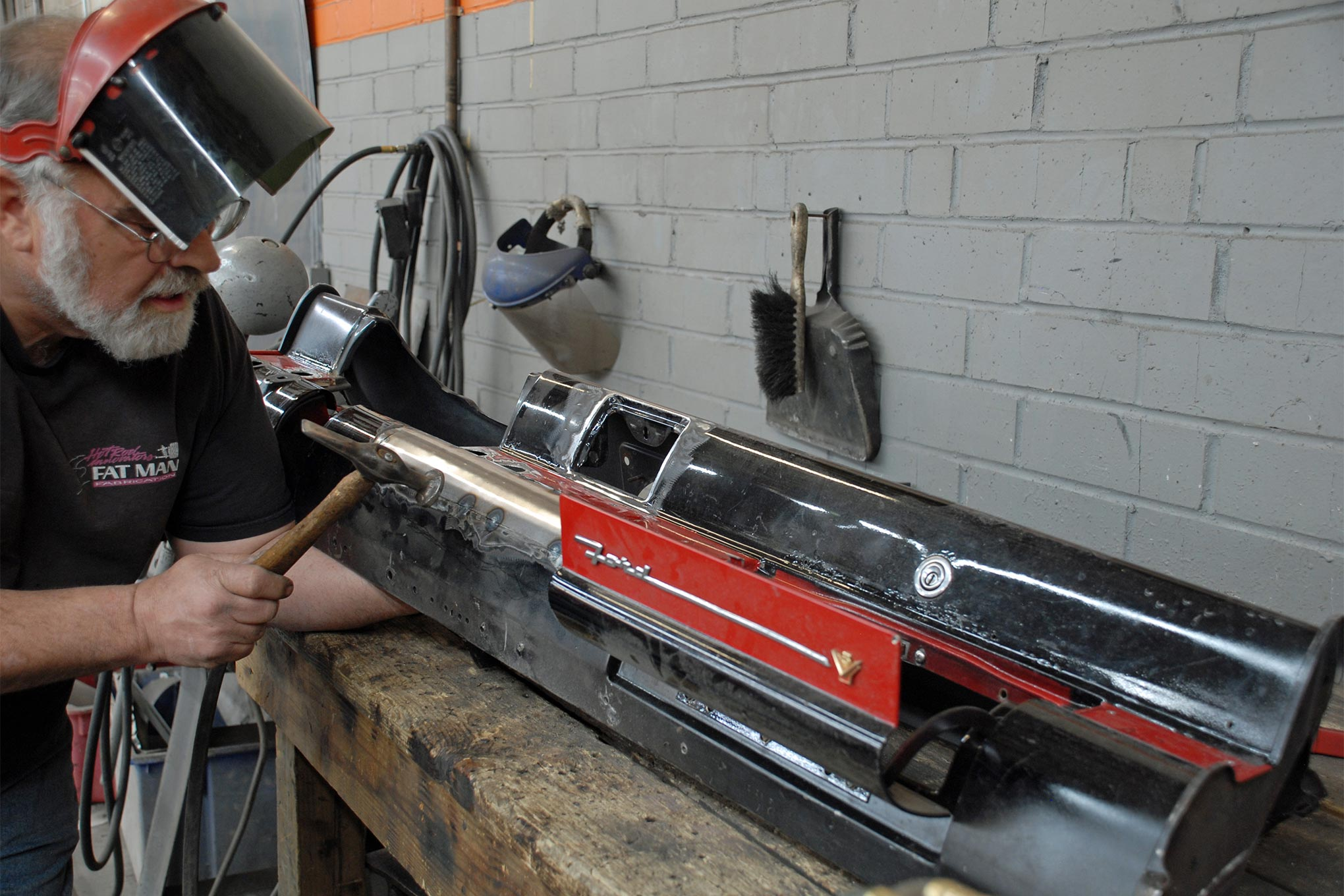 Hammering the tack welds while they are still orange-hot helps shrink the metal and keep all the seams nice and tight.