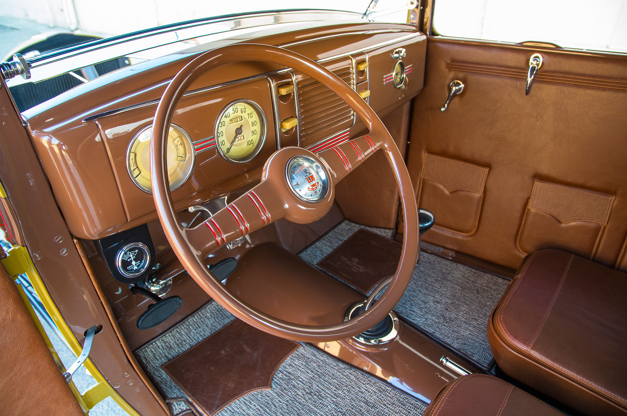 Leonard Knight donated the '39 Ford dashboard and gauges from one of his cars, while the steering wheel is a boat wheel made by Shelling and adapted to work with the F-100 column.