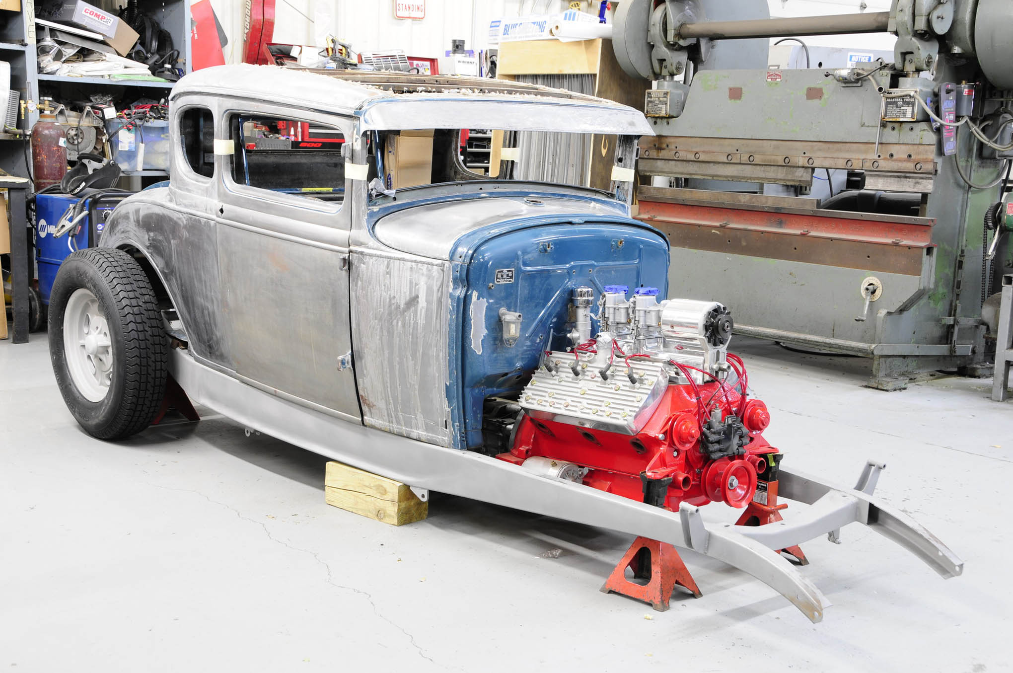 Nothing says traditional hot rod like a Model A coupe on Deuce 'rails with an balanced chop, full-house Flathead, and Halibrand wheels. We can hardly wait to see more on this.
