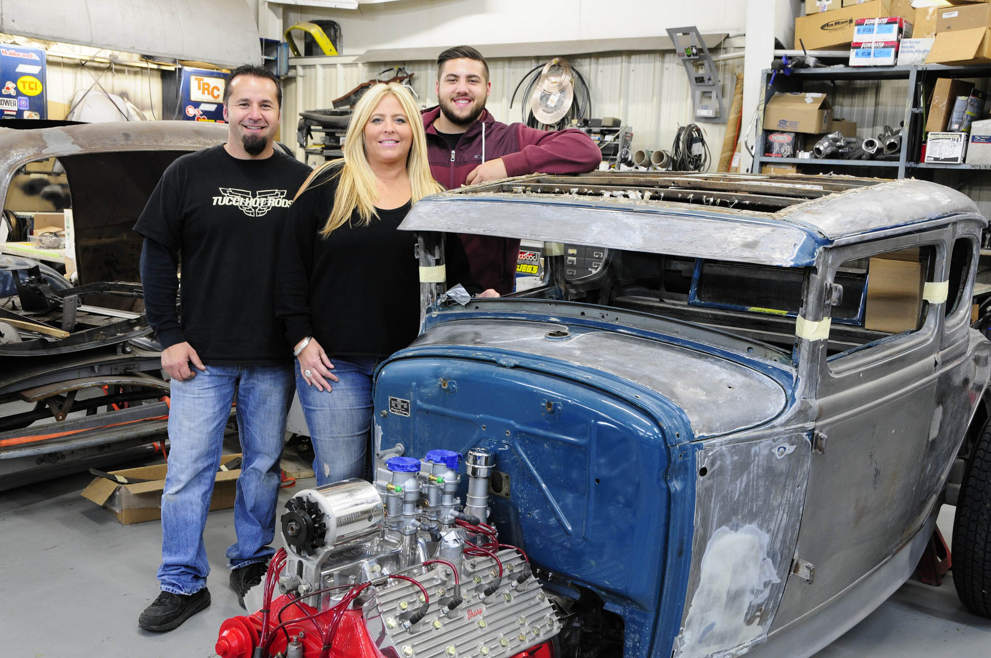 It's a family effort at Tucci Hot Rods to keep the shop moving smoothly on a daily basis with the combined talents of Dave, his lovely wife, Jill, and son, Dom, bringing their many years of experience to the business and its clients.