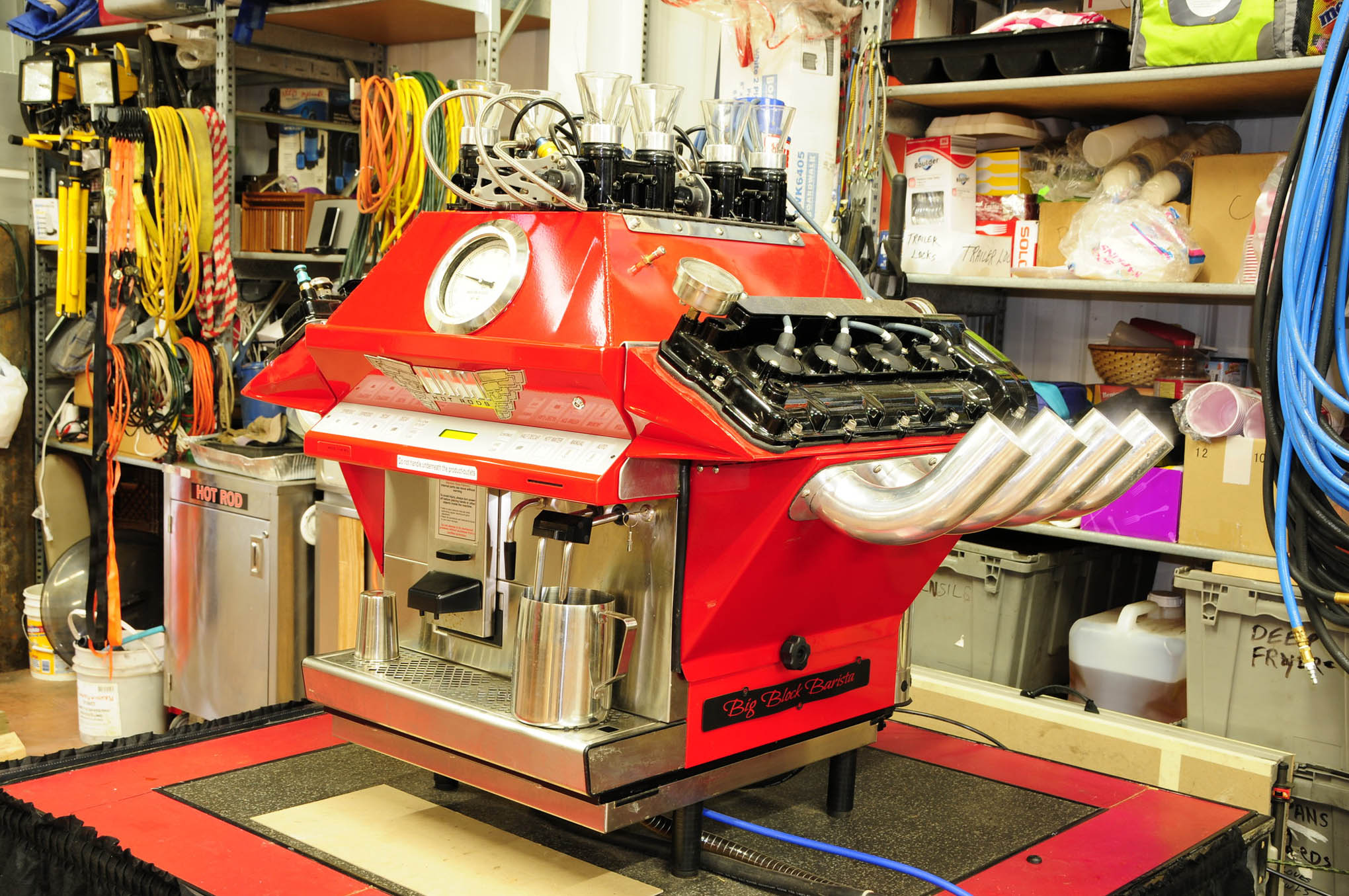 Tucci Sr., forever the innovator, came up with this killer big-Block Barista espresso machine … how's that for one powerful cup of coffee!